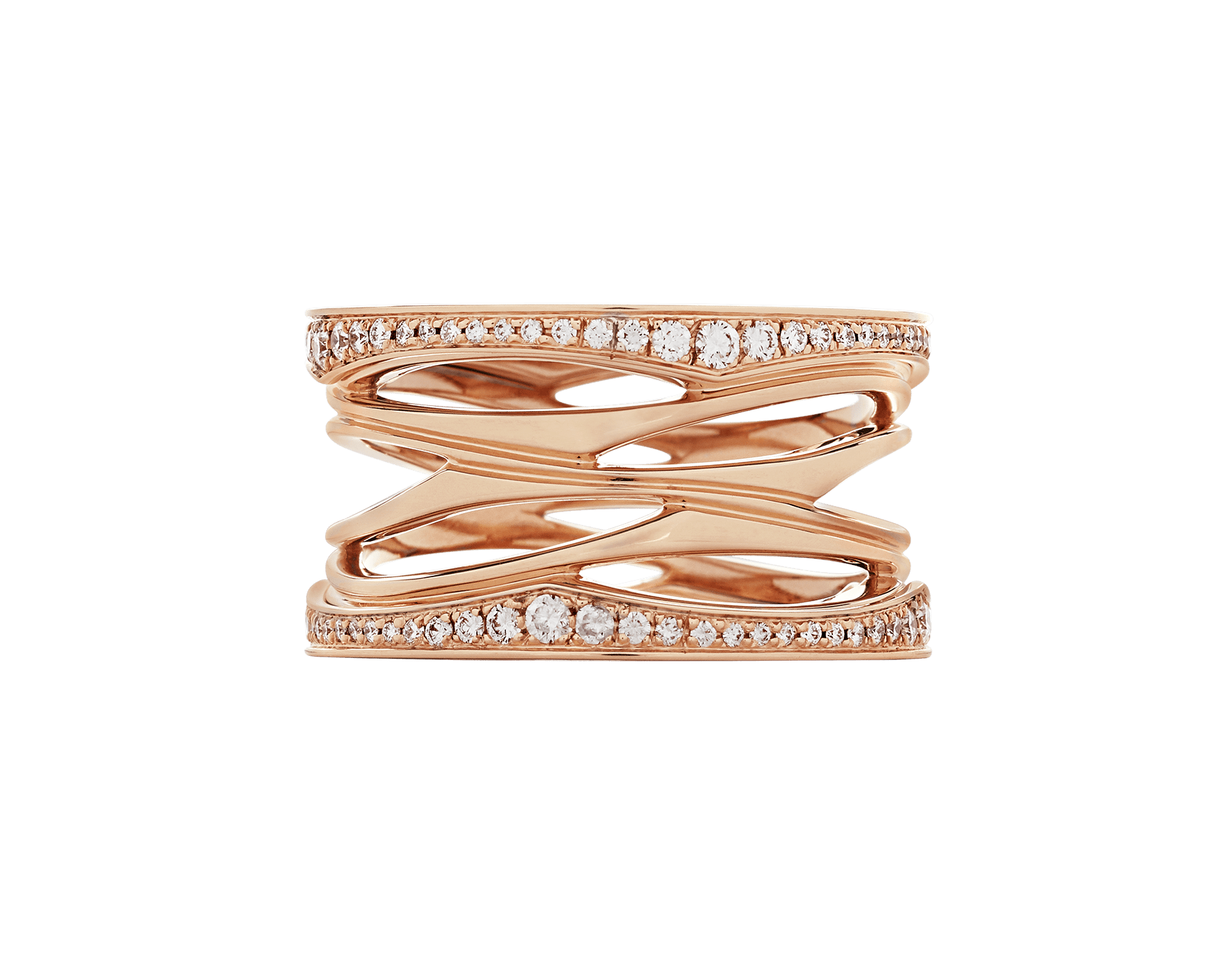 B.zero1 Design Legend four-band ring in 18 kt rose gold set with pavé diamonds (0.61 ct) on the edges. B-zero1-4-bands-AN858125 image 3