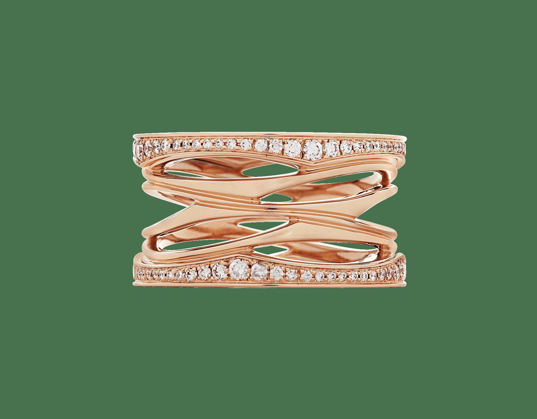 Anel B.zero1 Design Legend de 4 aros em ouro rosa 18K cravejado com pavê de diamantes nas bordas. B-zero1-4-bands-AN858125 image 3