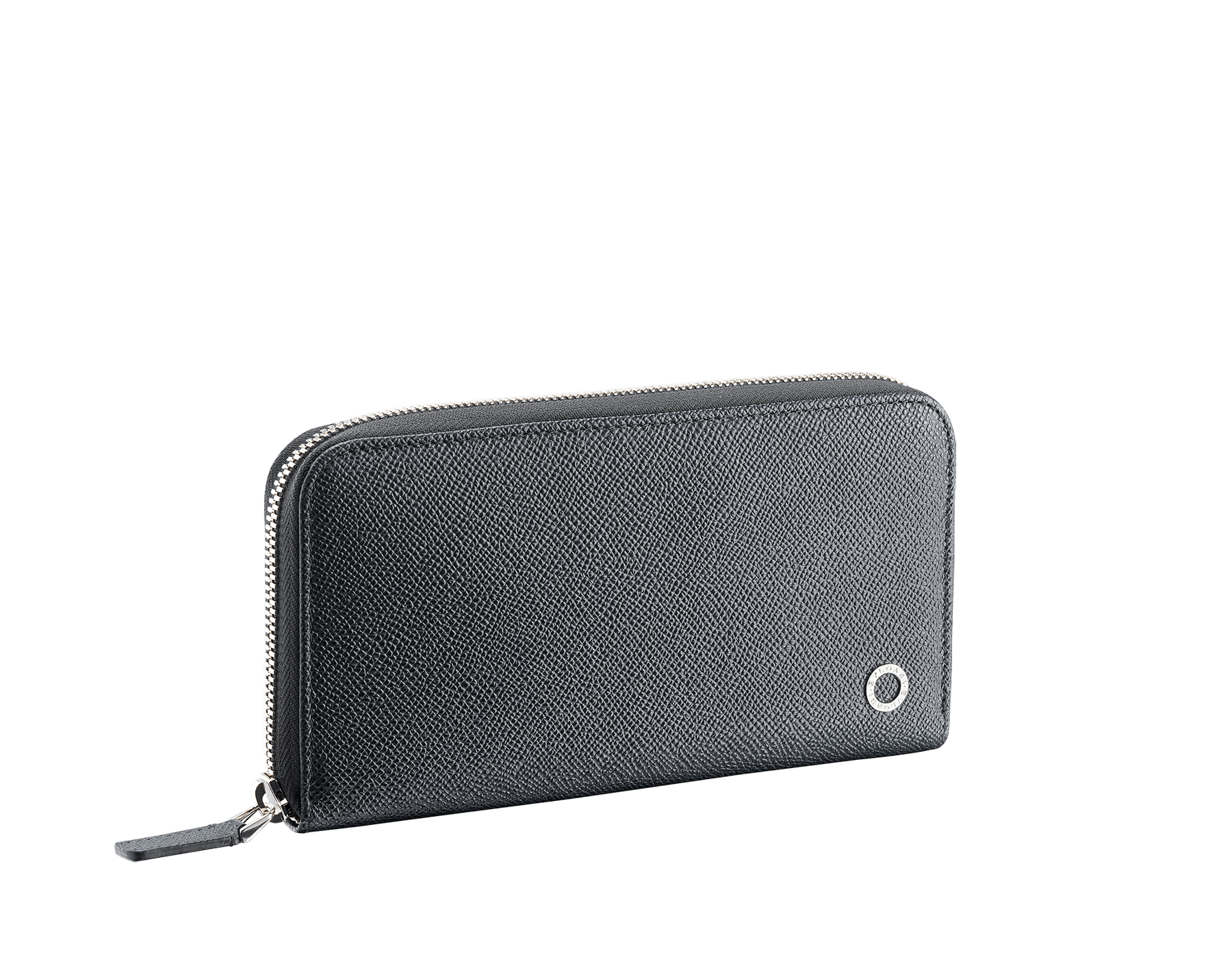 BVLGARI BVLGARI zipped wallet for men in charcoal diamond and emerald green grain calf leather and charcoal diamond nappa lining. Iconic logo décor in palladium plated brass. 289101 image 1