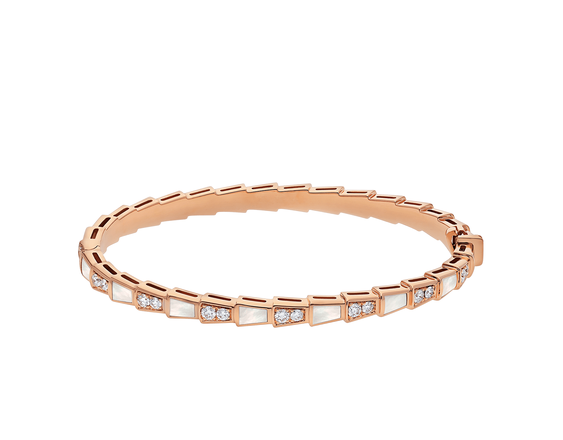 Serpenti 18 kt rose gold bracelet set with mother-of-pearl elements and pavé diamonds BR858356 image 2