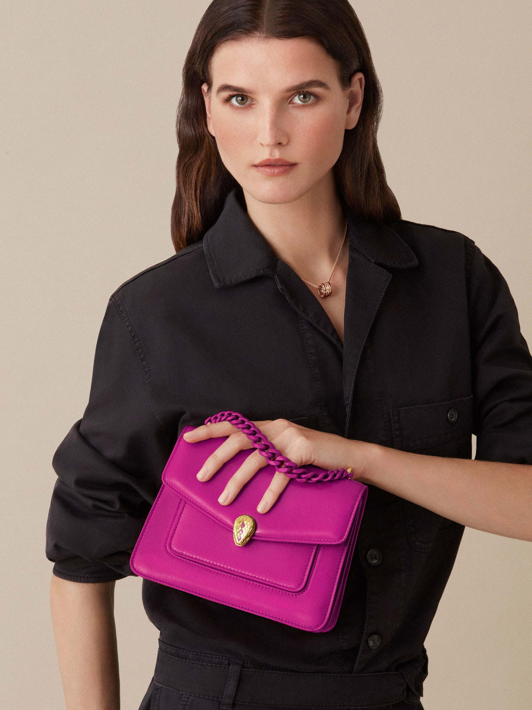 """Serpenti Forever"" small maxi chain crossbody bag in Magenta Spinel purple nappa leather, with Roman Garnet bordeaux nappa leather internal lining. New Serpenti head closure in gold plated brass, finished with small purple rhodonite scales in the middle and red enamel eyes. 1134-MCN image 6"