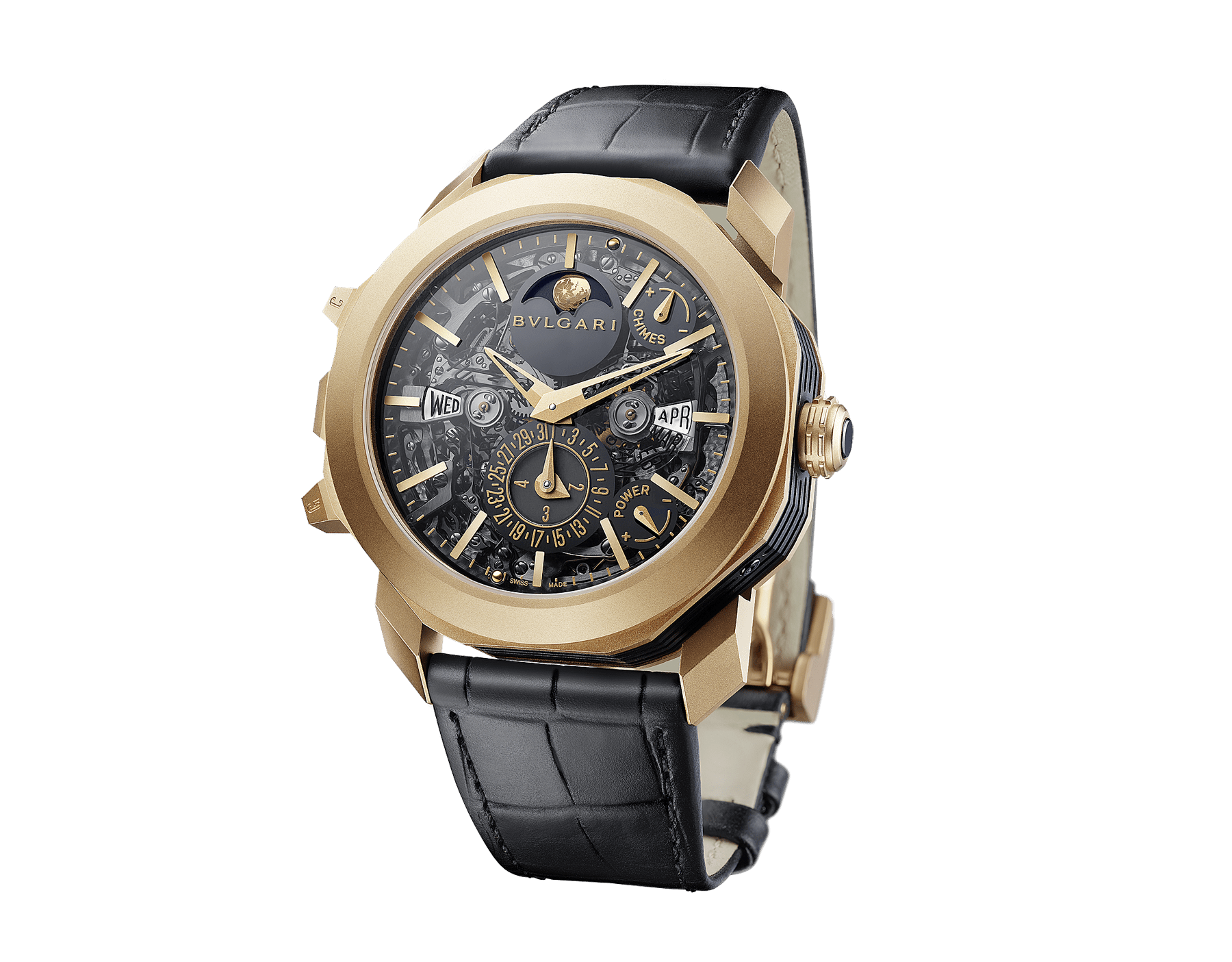 Octo Grande Sonnerie watch with mechanical manufacture movement, Grande and Petite Sonnerie, minute repeater, tourbillon, perpetual calendar, moonphases, movement and chime power reserve indicator, 18 kt rose gold sandblasted case, skeletonized dial and black alligator bracelet 102891 image 2