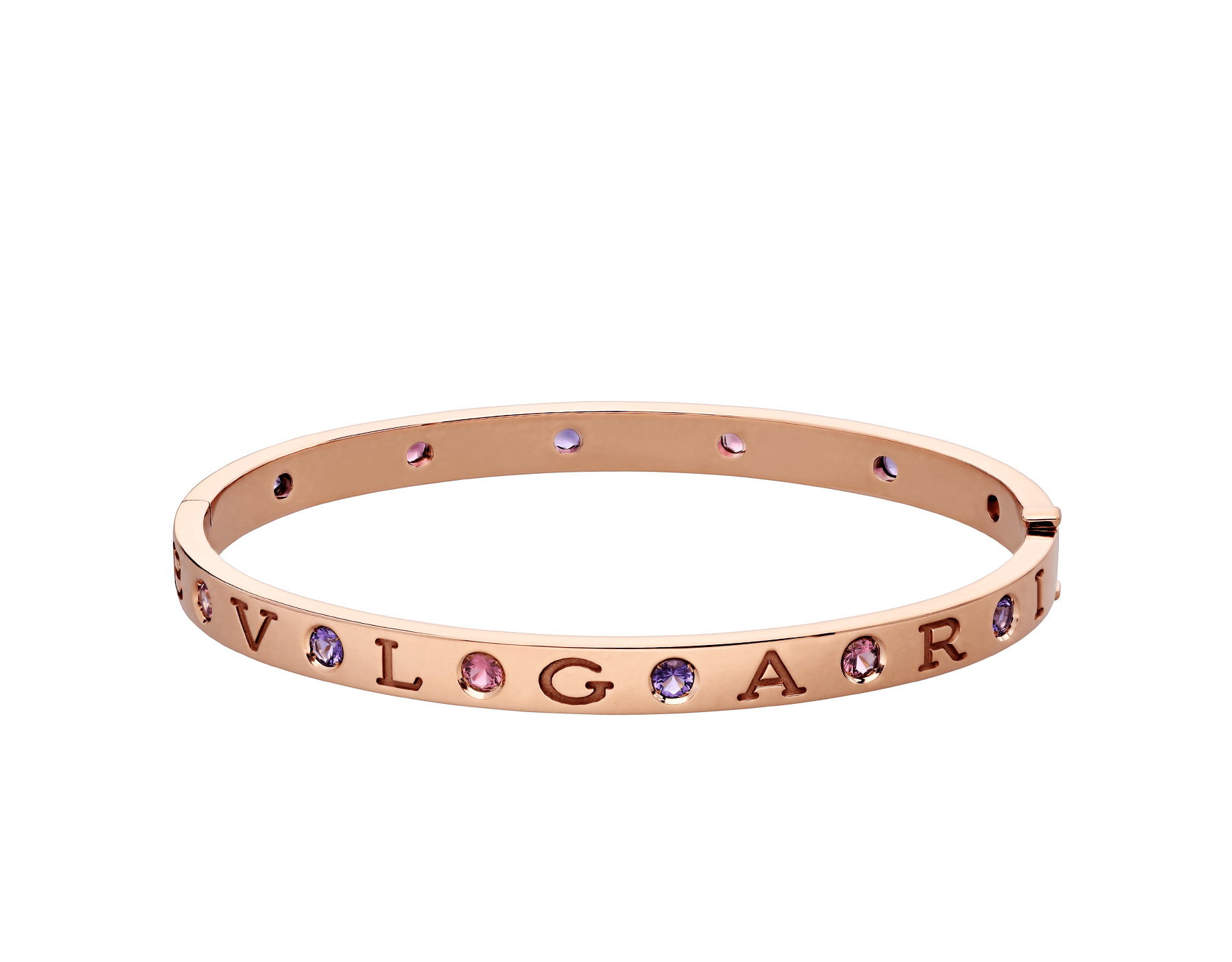 BVLGARI BVLGARI 18 kt rose gold bangle bracelet set with six amethysts and six pink tourmalines BR857613 image 2