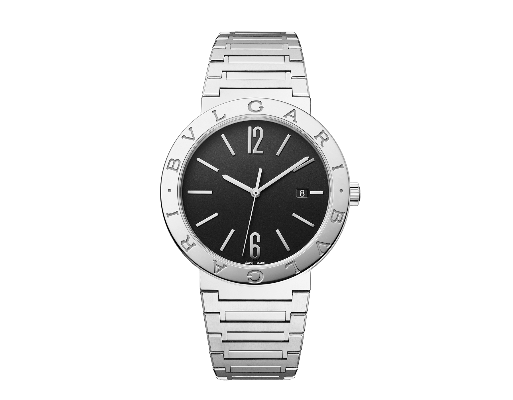 BVLGARI BVLGARI Solotempo watch with mechanical manufacture movement, automatic winding and date, stainless steel case and bracelet, stainless steel bezel engraved with double logo and black dial 102928 image 1