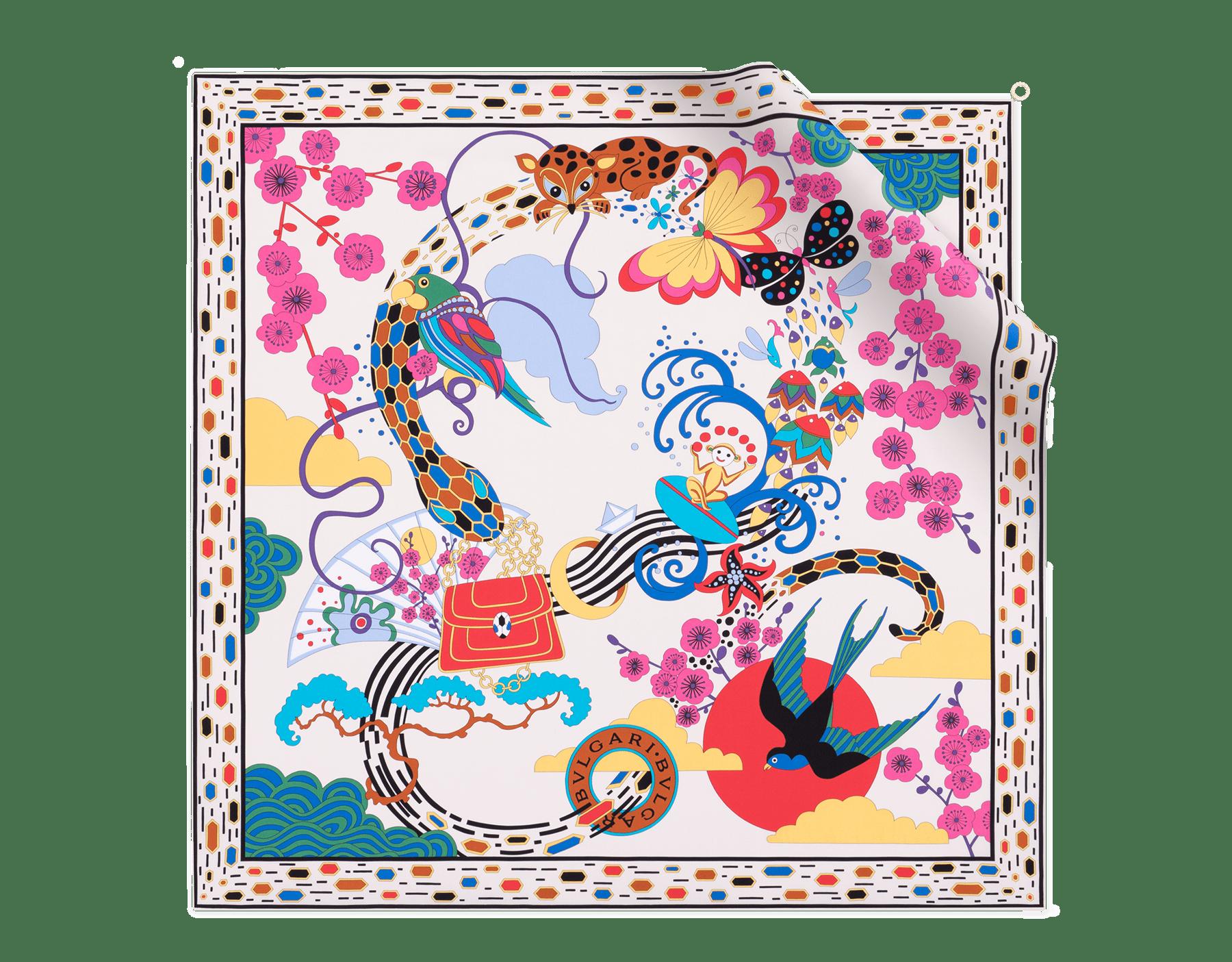 Lenço Jazz branco-ágata em fina sarja de seda. 243946 image 1