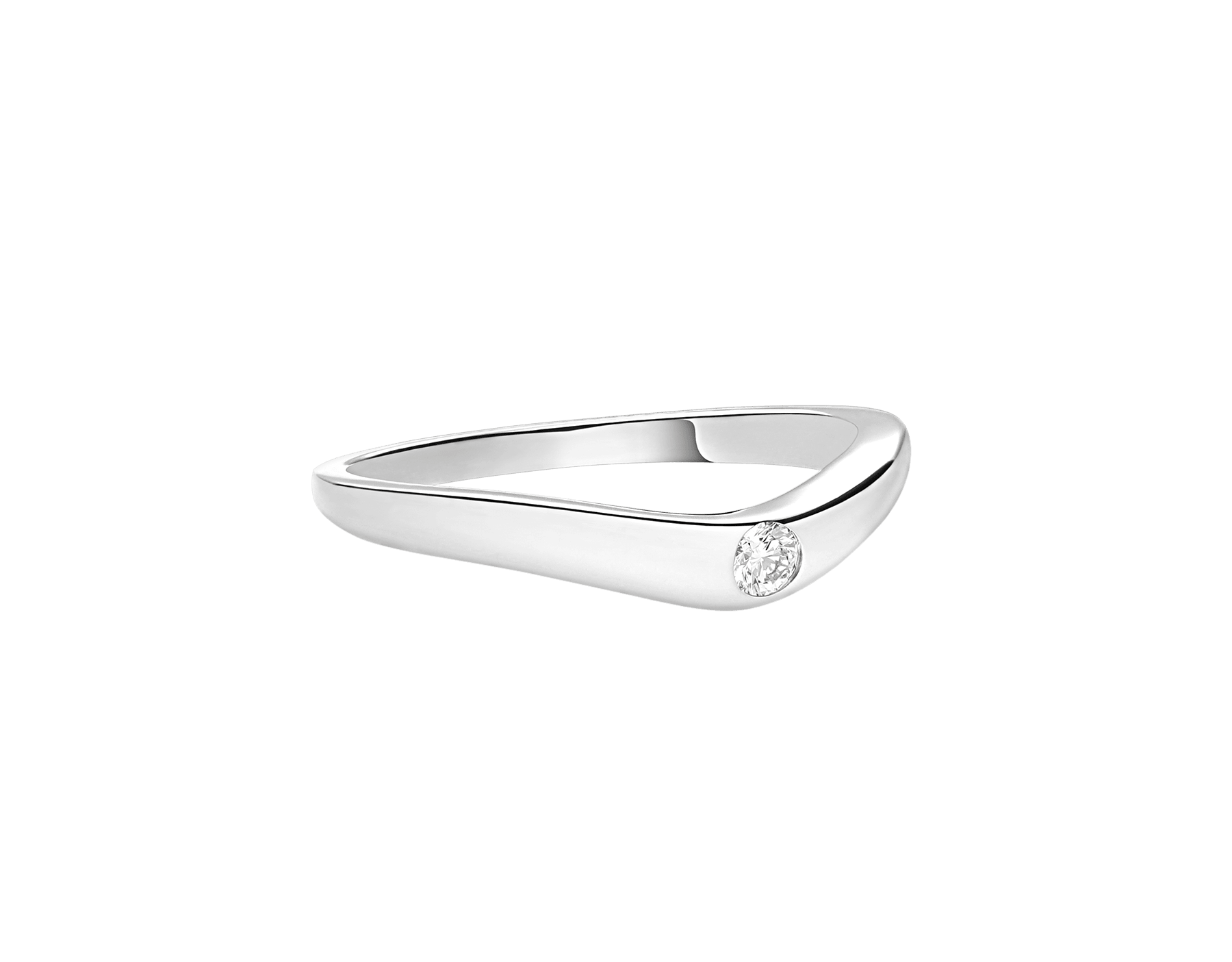 Fedi platinum Wedding Band, set with a diamond. AN856296 image 2