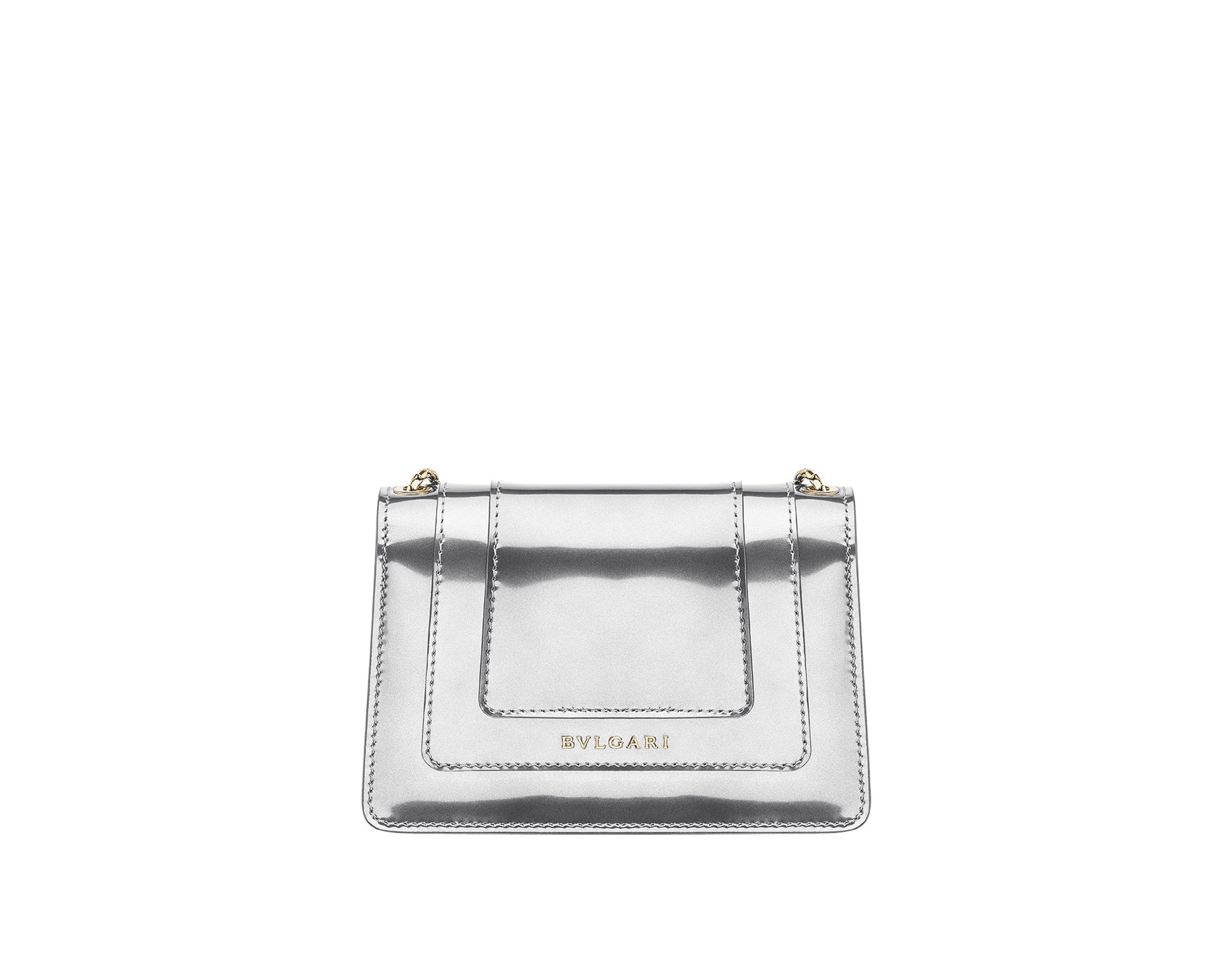Serpenti Forever mini crossbody bag in silver brushed metallic calf leather. Brass light gold plated snake head closure in black and white enamel, with green malachite eyes. 288051 image 3