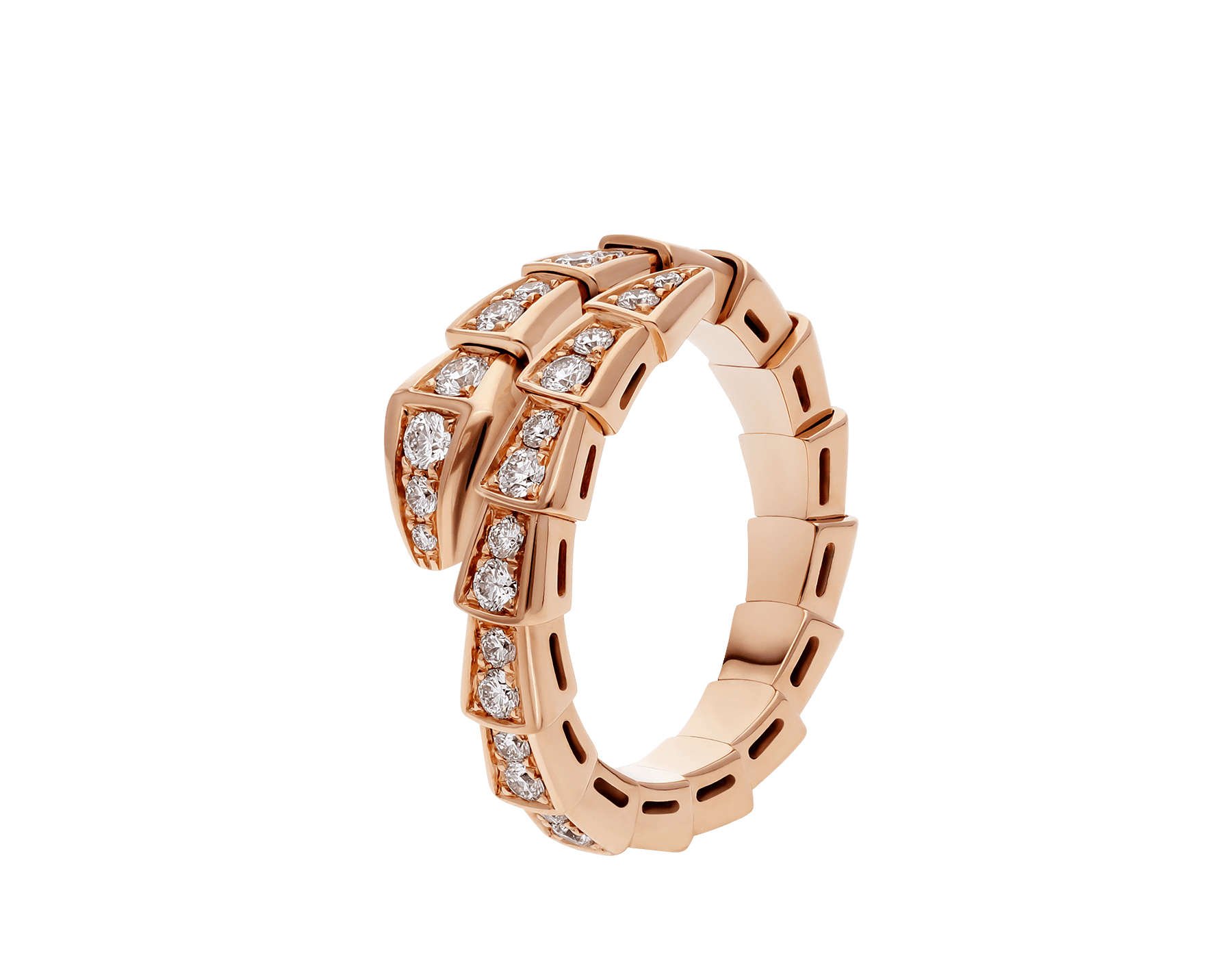 Serpenti Viper 18 kt rose gold ring set with pavé diamonds AN858522 image 1