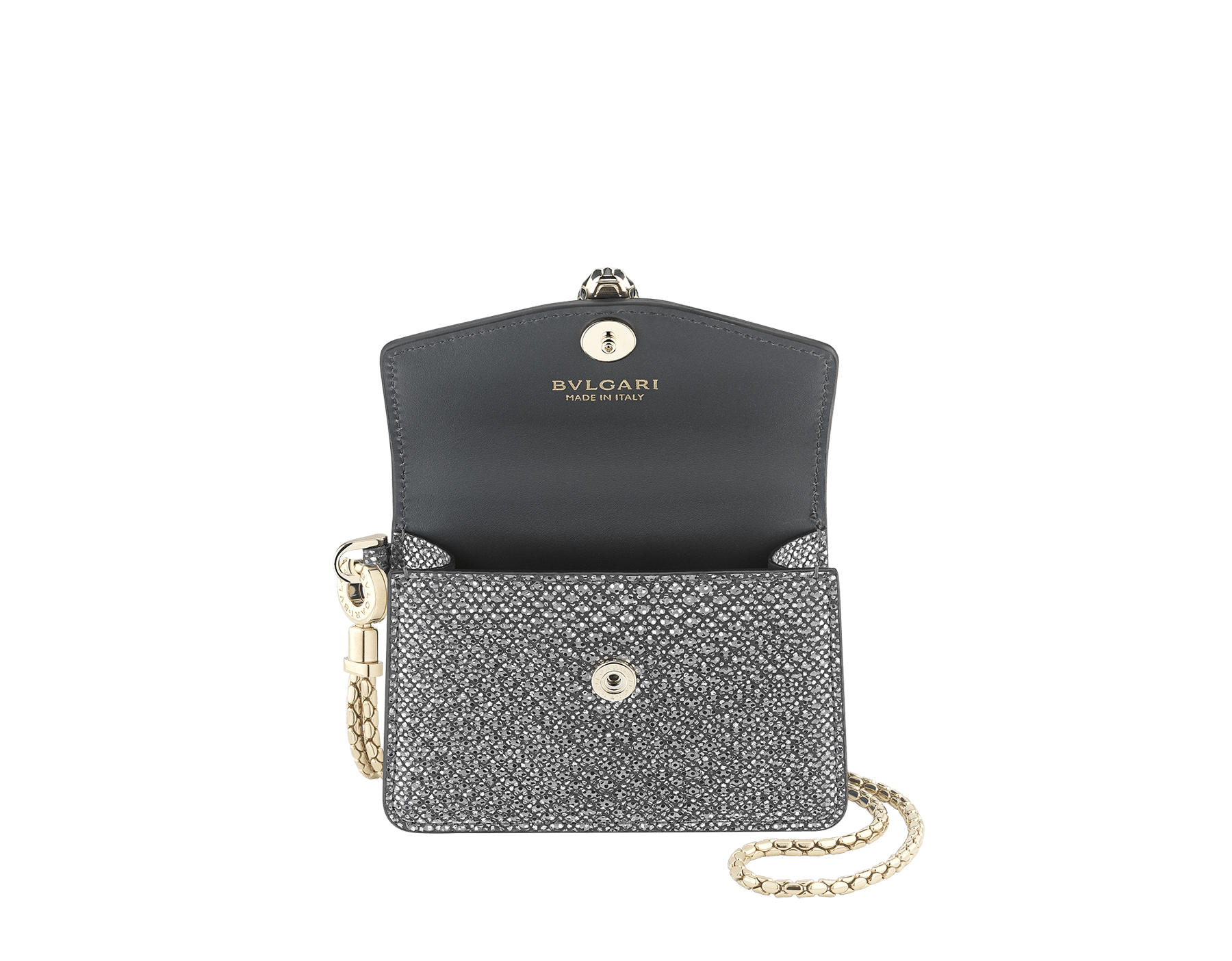 Serpenti Forever Travel Holders Kit in charcoal diamond metallic karung skin. Iconic snake head closure in black and glitter charcoal diamond enamel, with black enamel eyes. 289324 image 2