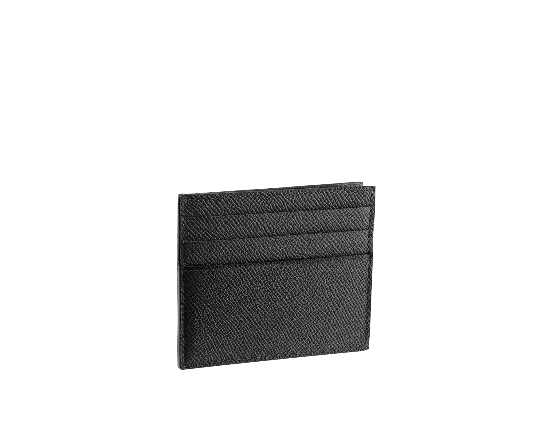 BVLGARI BVLGARI open credit card holder in black grain calf leather and black nappa lining. Iconic logo décor in palladium plated brass. 288524 image 2
