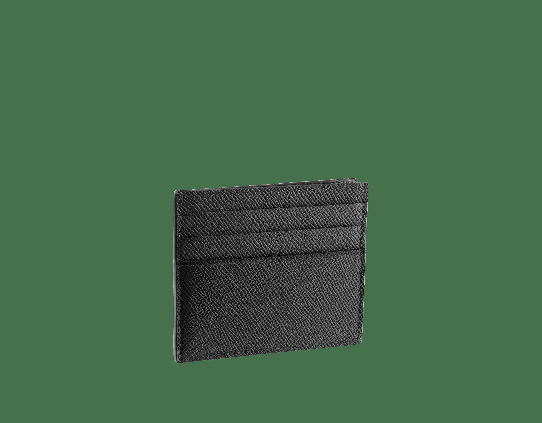 Étui pour cartes de crédit ouvert BVLGARI BVLGARI en cuir de veau grainé noir avec doublure en nappa noir. Emblématique logo Bvlgari en laiton plaqué palladium. 288524 image 2