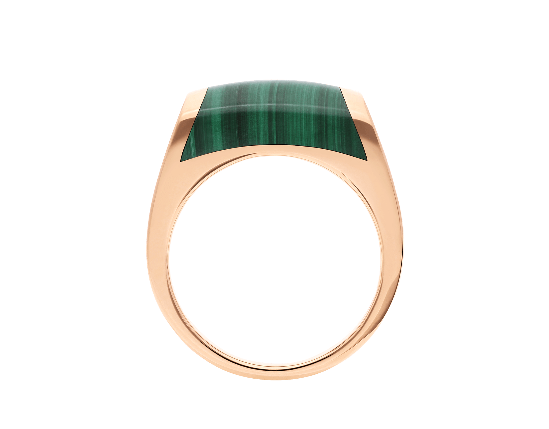 MVSA slim ring in 18 kt rose gold, set with a malachite. AN857916 image 2
