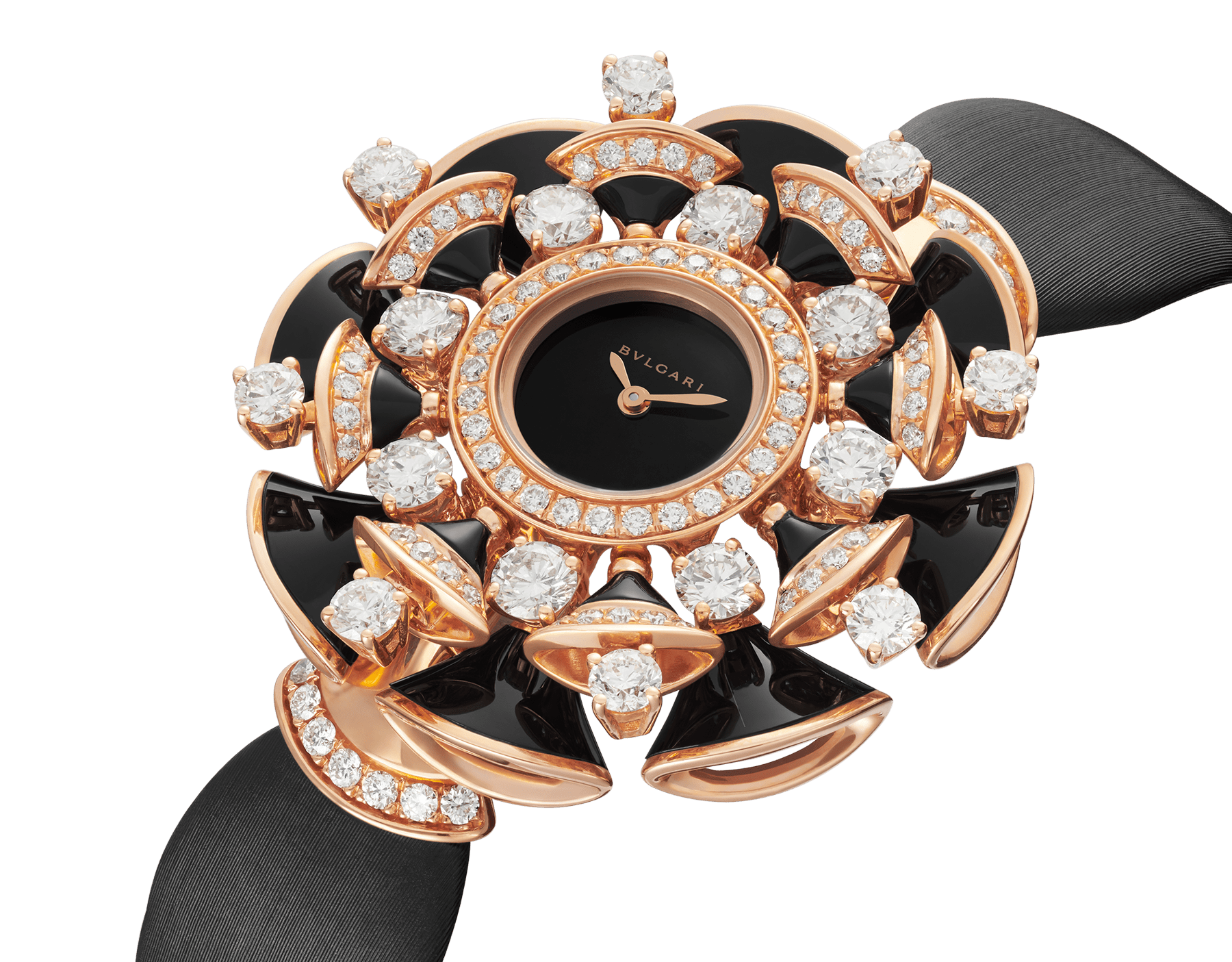 DIVAS' DREAM watch with 18 kt rose gold case set with brilliant-cut diamonds, round-cut diamonds, and onyx elements, black lacquered dial and black satin bracelet 102216 image 2