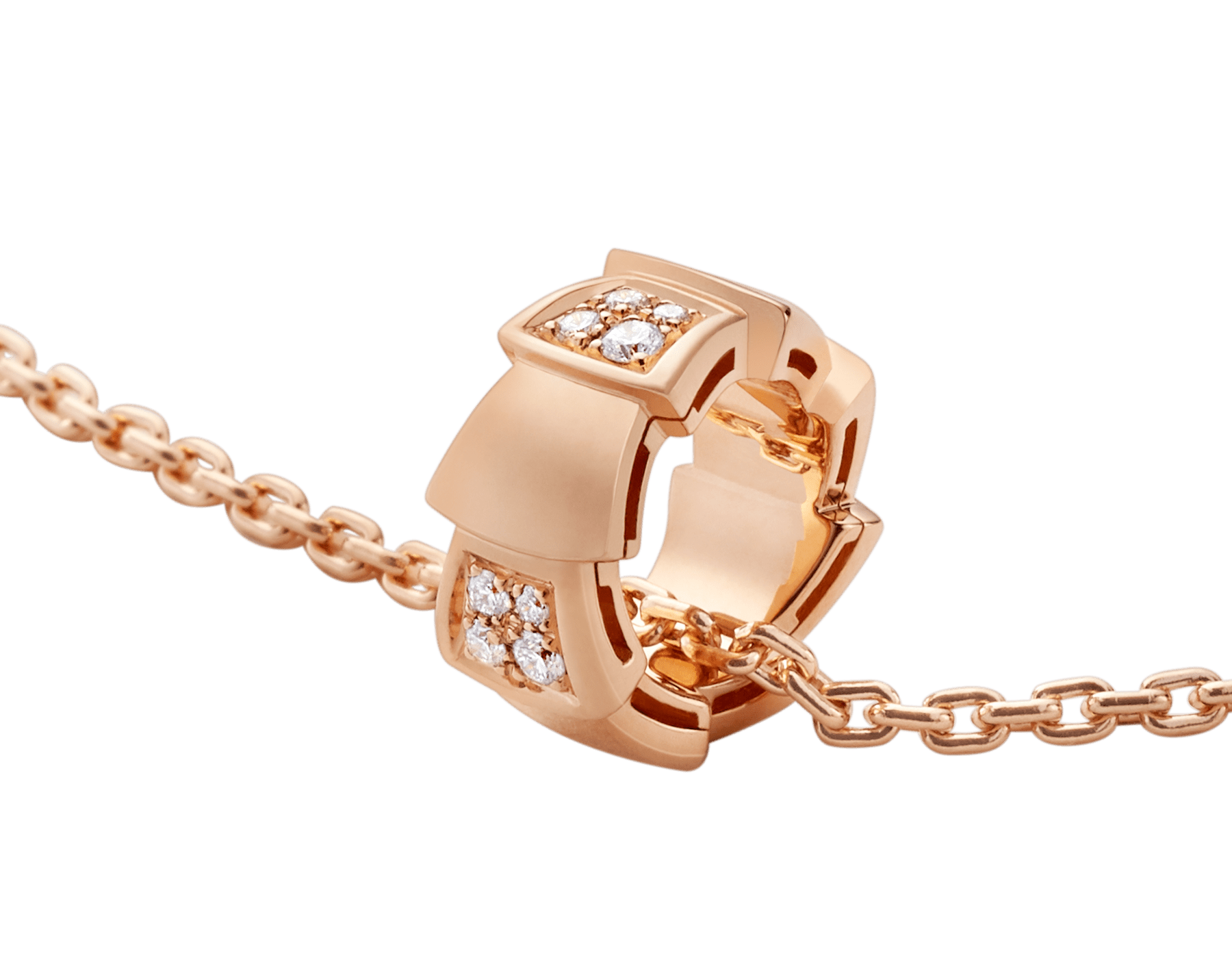 Serpenti Viper necklace with 18 kt rose gold chain and 18 kt rose gold pendant set with demi pavé diamonds. (0.21 ct) 355254 image 3