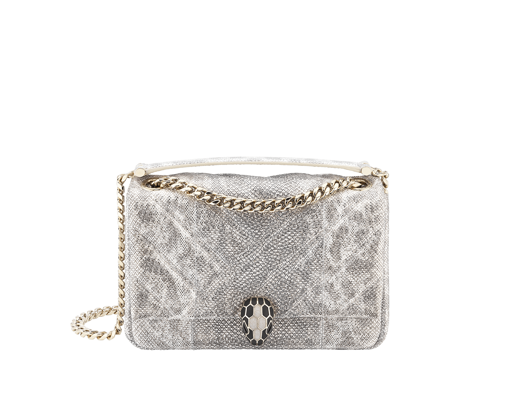 Serpenti Cabochon shoulder bag in soft quilted white agate metallic karung skin, with a graphic motif. Light gold brass plated tempting snake head closure in matte black and glitter white agate enamel, with black onyx eyes. 288805 image 1