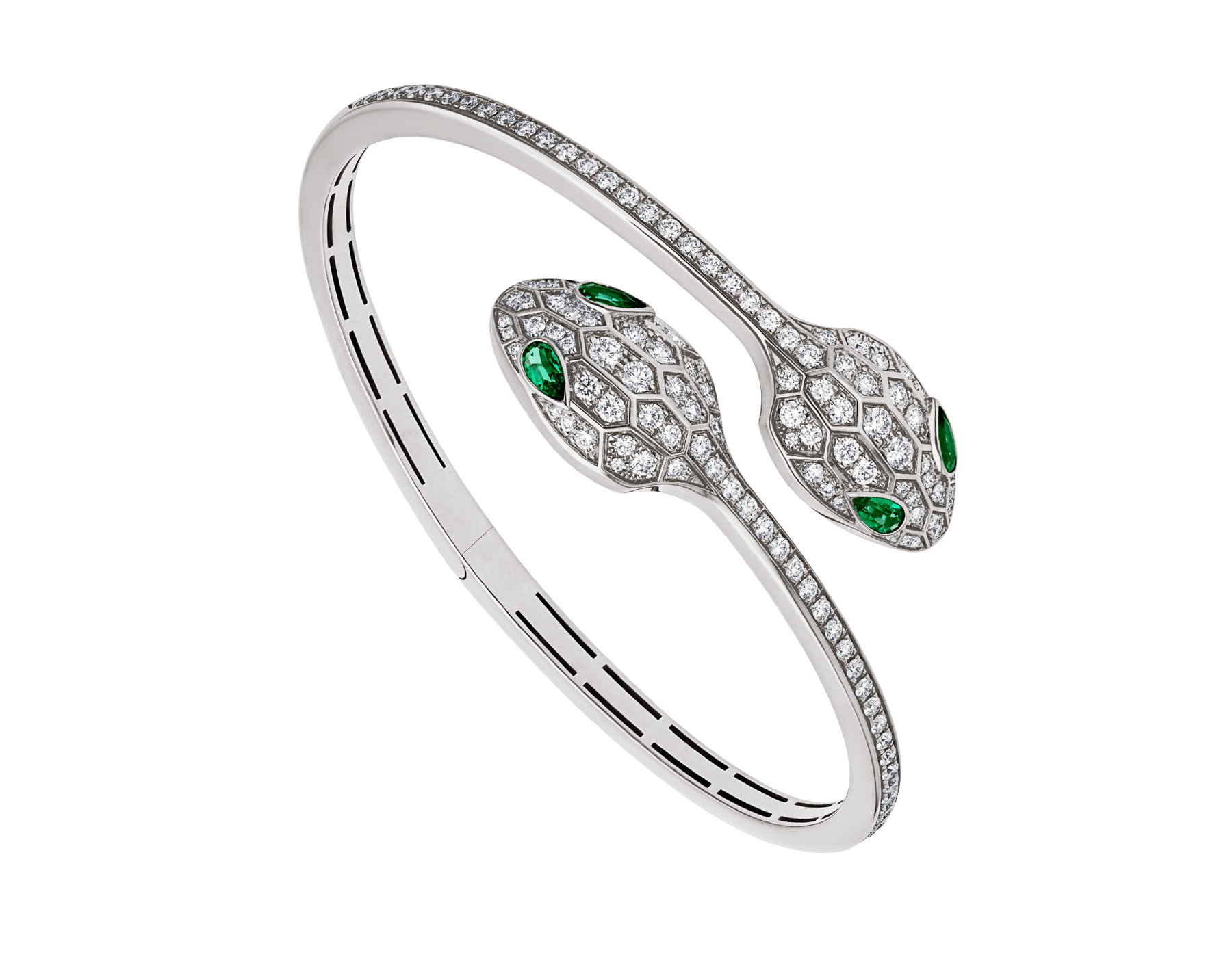 Serpenti 18 kt white gold bracelet set with emerald eyes and pavé diamonds. BR858551 image 1