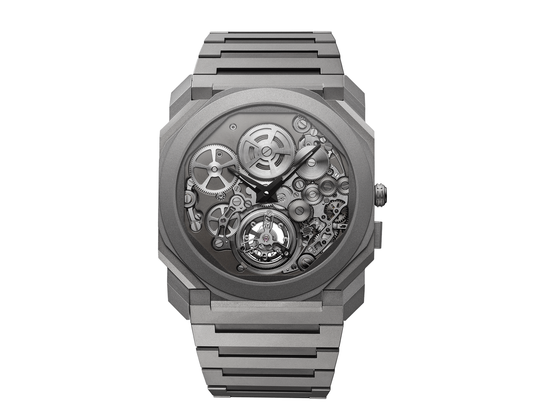 Octo Finissimo Tourbillon Automatic watch with manufacture mechanical movement, ultra-thin flying tourbillon, special ball bearing system, ultra-thin sandblasted titanium case and bracelet, and skeletonized sandblasted titanium dial 102937 image 1