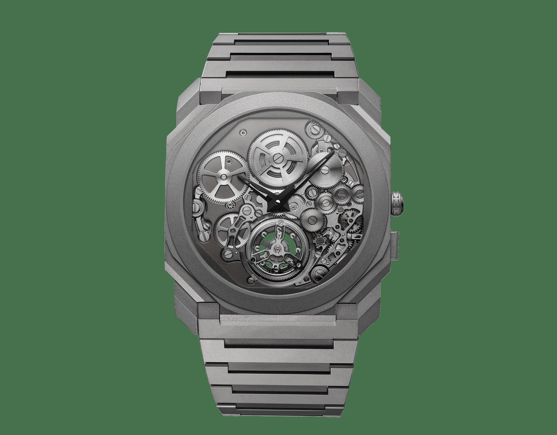 Octo Finissimo自动上链陀飞轮腕表,搭载品牌自制的机械机芯,超薄飞行陀飞轮,特制滚珠轴承系统,喷砂处理超薄钛金属表壳和表链, 喷砂处理镂空钛金属表盘 102937 image 1