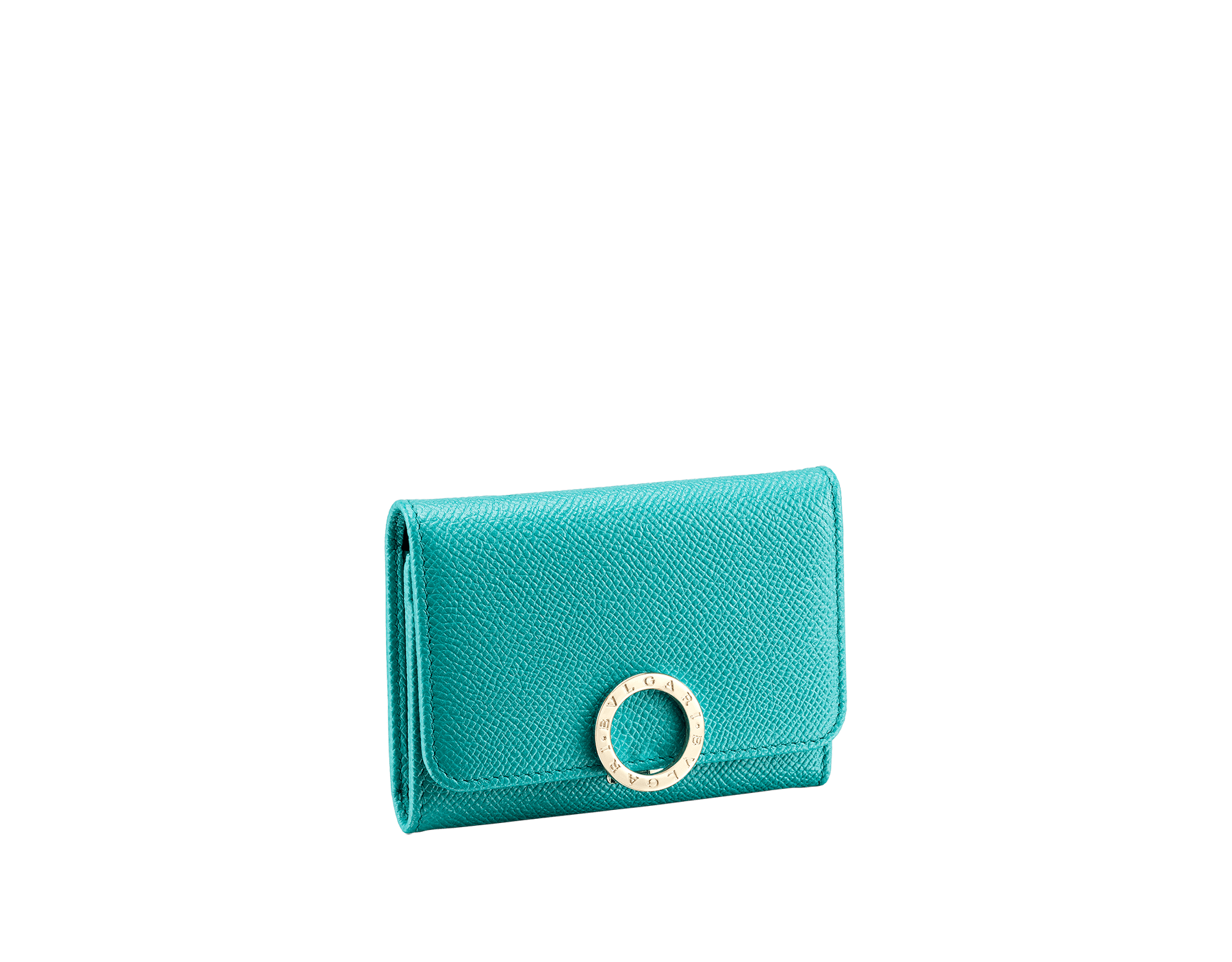 BVLGARI BVLGARI business card holder in arctic jade grain calf leather and grape amethyst nappa leather. Iconic logo closure clip in light gold plated brass. 289037 image 1