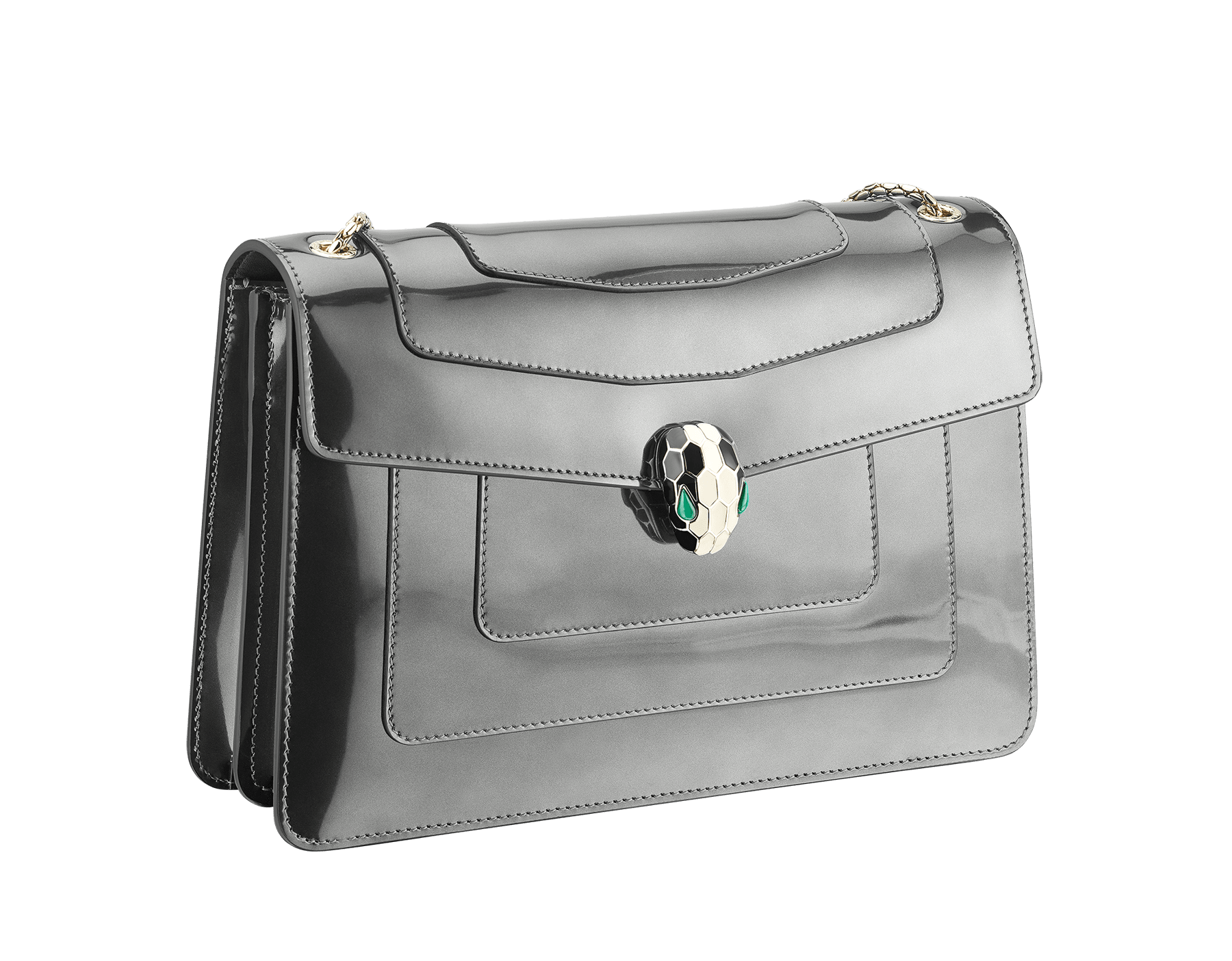 Flap cover bag Serpenti Forever in mirage shiny silver brushed metallic calf leather. Brass light gold plated snake head closure in black and white enamel with eyes in green malachite. 39793 image 2