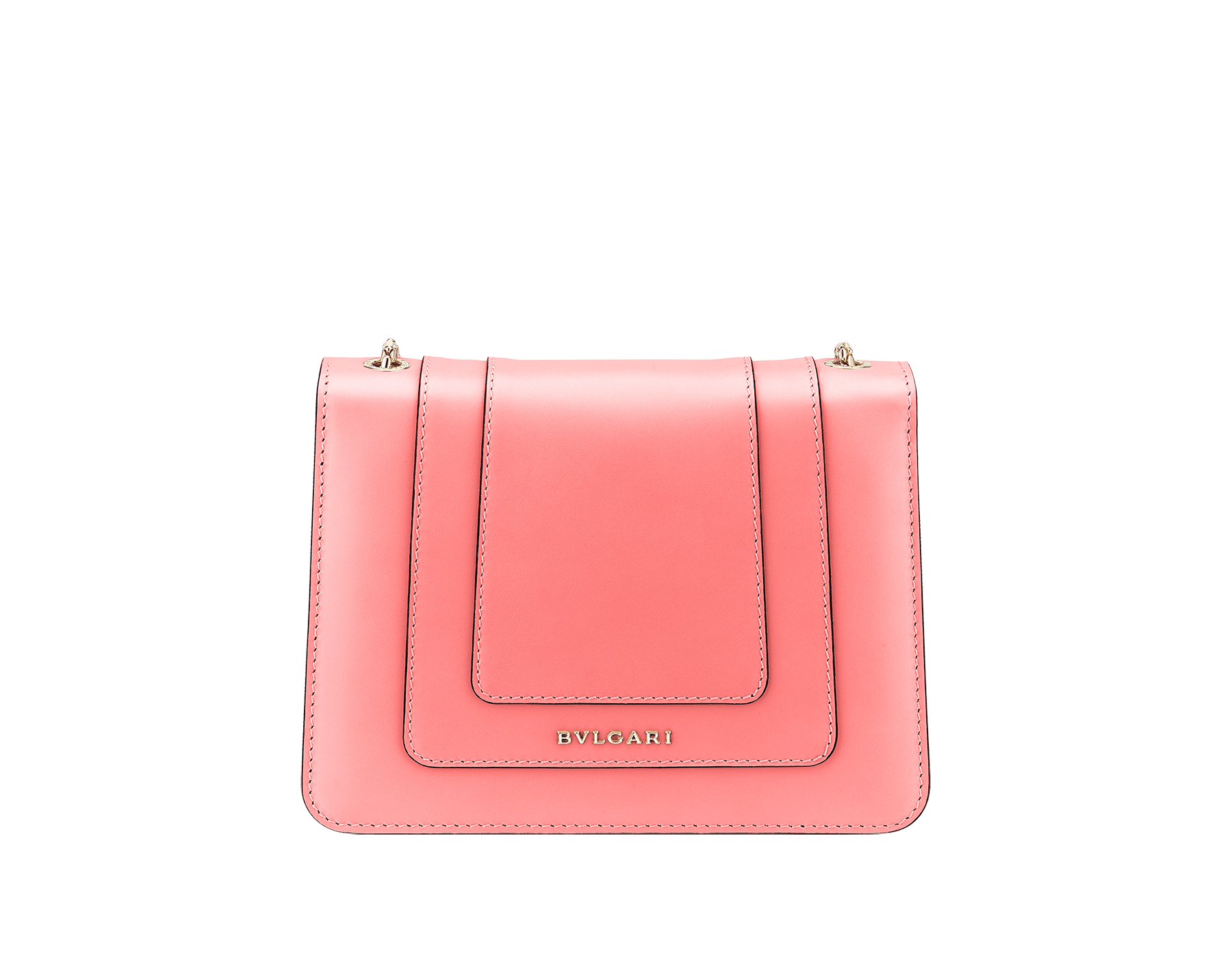 """Serpenti Forever"" crossbody bag in silky coral calf leather. Iconic snakehead closure in light gold plated brass enriched with black and white enamel and green malachite eyes. 288700 image 3"
