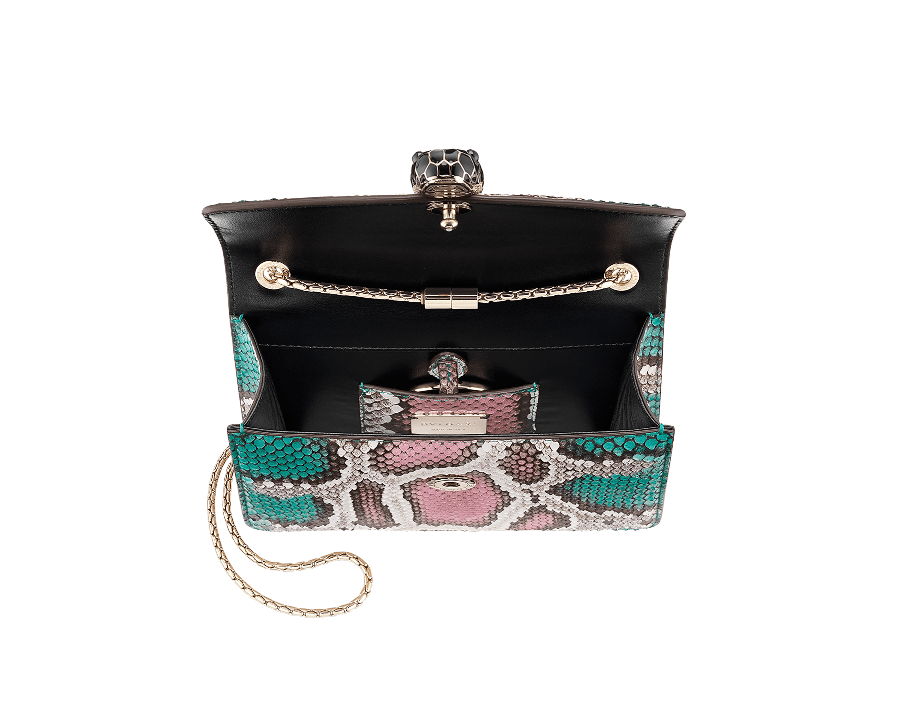 """""""Serpenti Forever"""" crossbody bag in multicolour """"Magic Chromaline"""" python skin. Iconic snakehead closure in light gold plated brass enriched with black and white enamel and black onyx eyes. 422-Pc image 4"""