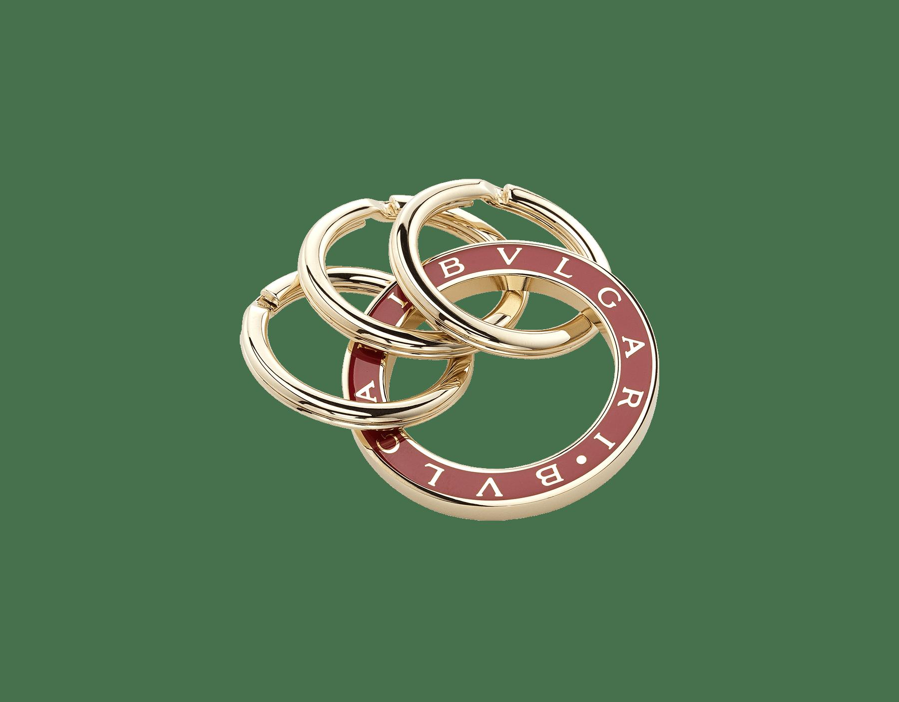 Keyrings white enamel and light gold KEYRING-BB-ENAMEL image 1