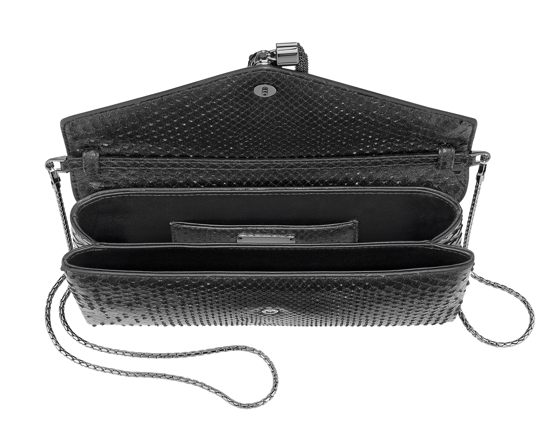 """""""Serpenti"""" evening clutch bag in black Diamond Glam python skin. Iconic snake head stud closure with tassel in dark ruthenium plated brass enriched with black shiny enamel and black onyx eyes. 289041 image 4"""