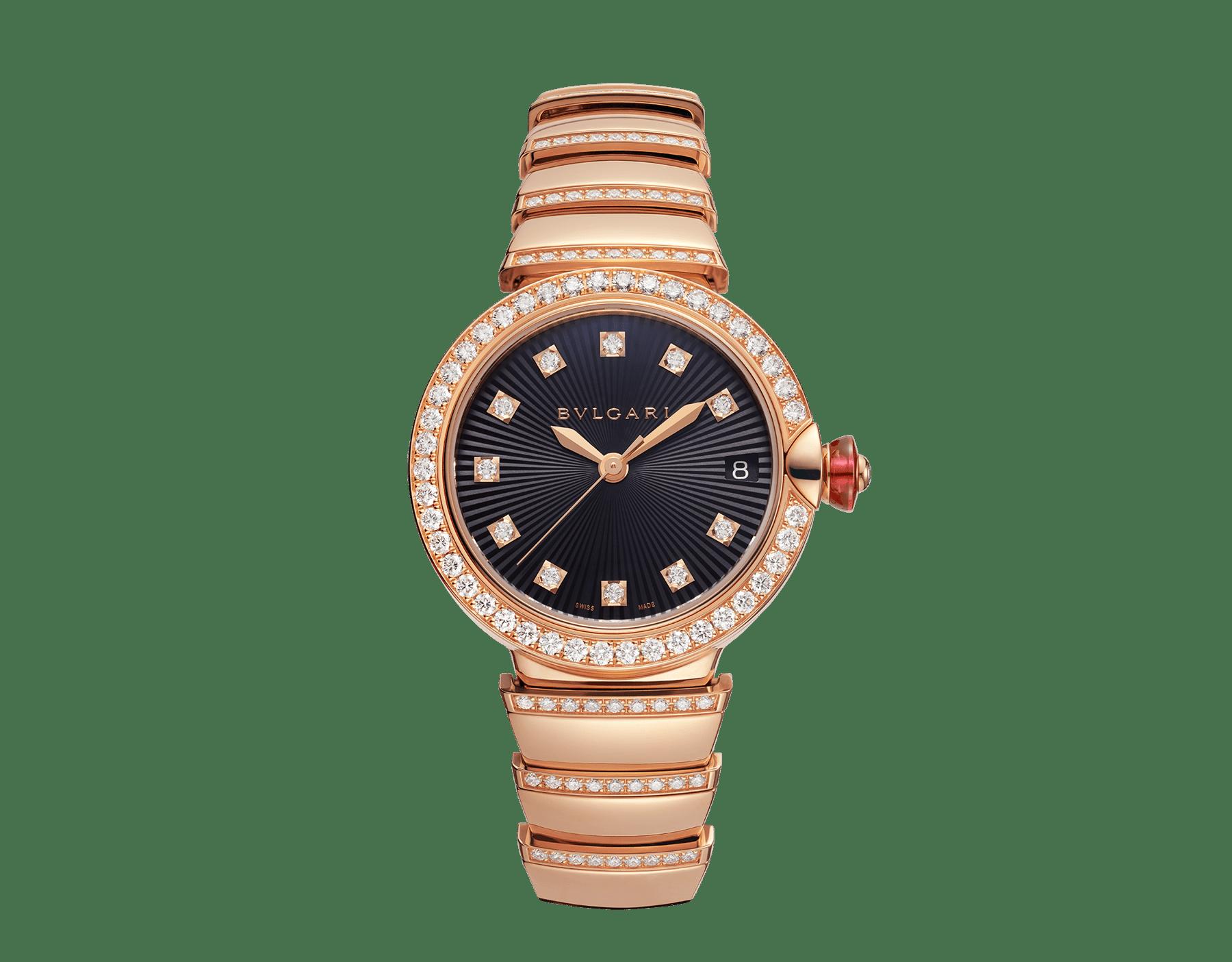 LVCEA 腕錶,18K 玫瑰金錶殼和錶帶鑲飾明亮型切割鑽石,黑色蛋白石錶盤。 102191 image 1