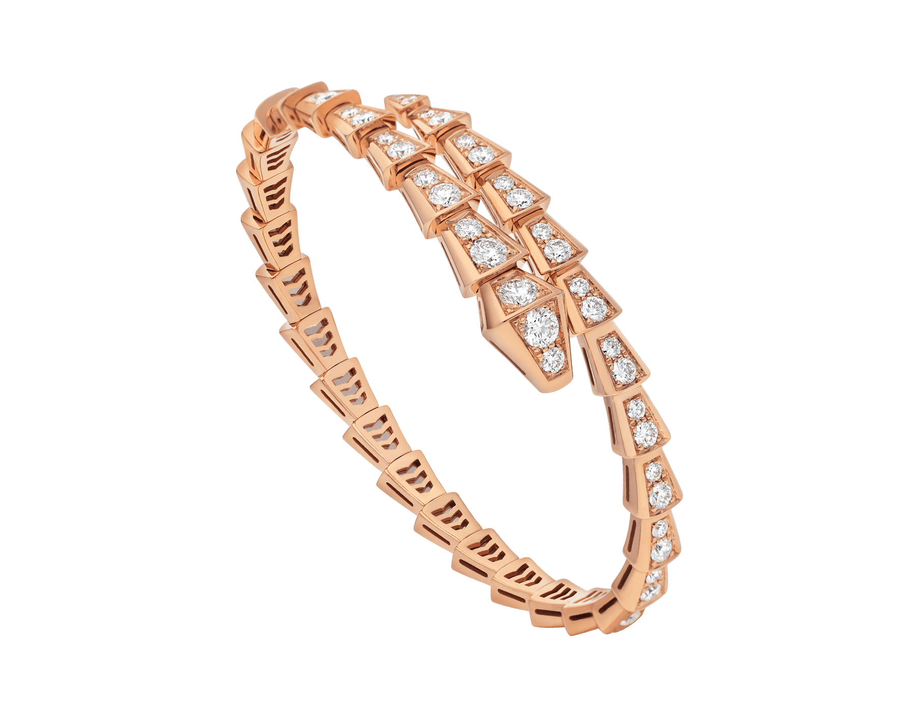 Serpenti Viper one-coil thin bracelet in 18 kt rose gold and full pavé diamonds. BR858084 image 1