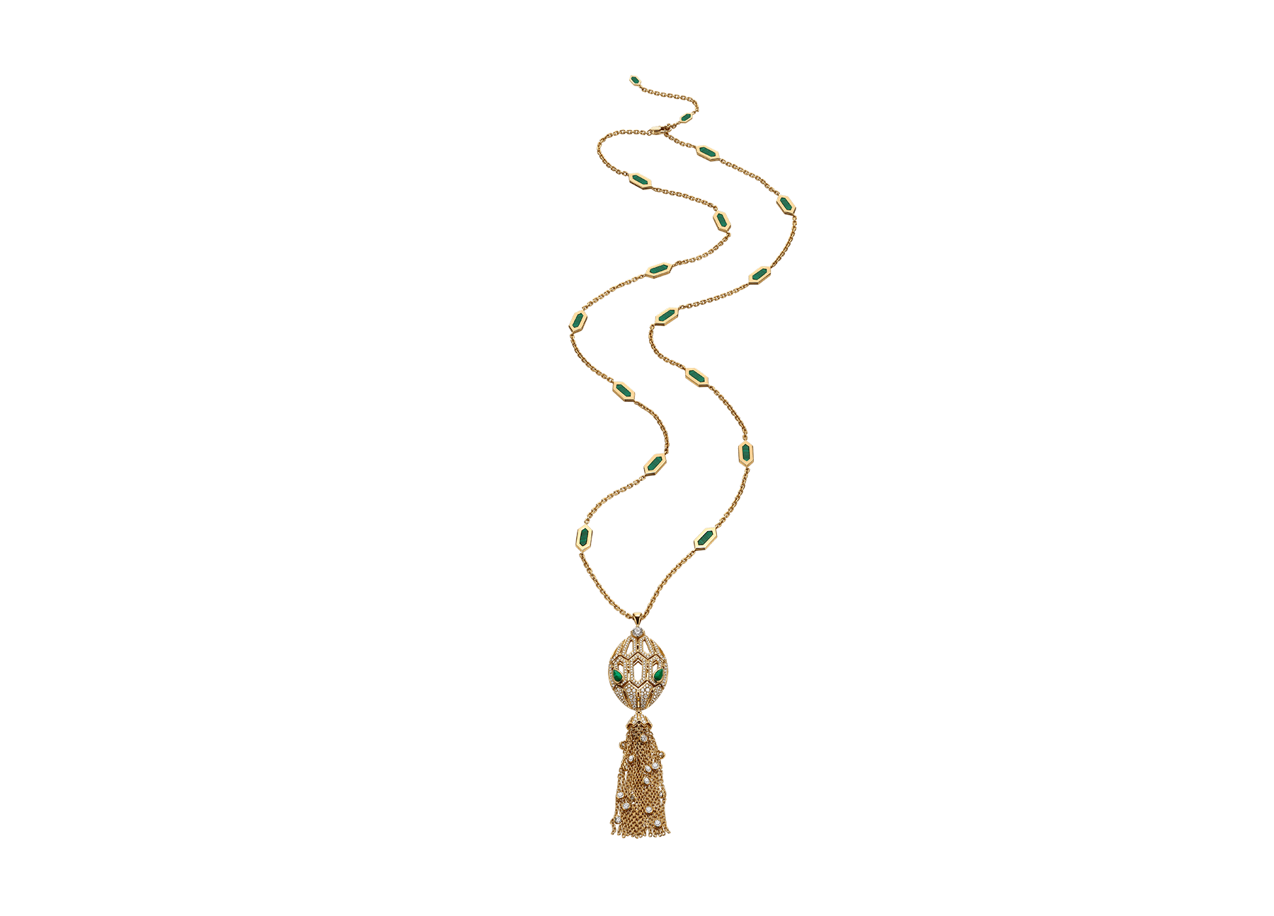 Serpenti 18 kt yellow gold necklace with tassel set with a diamond, pavé diamonds and malachite eyes 354101 image 1