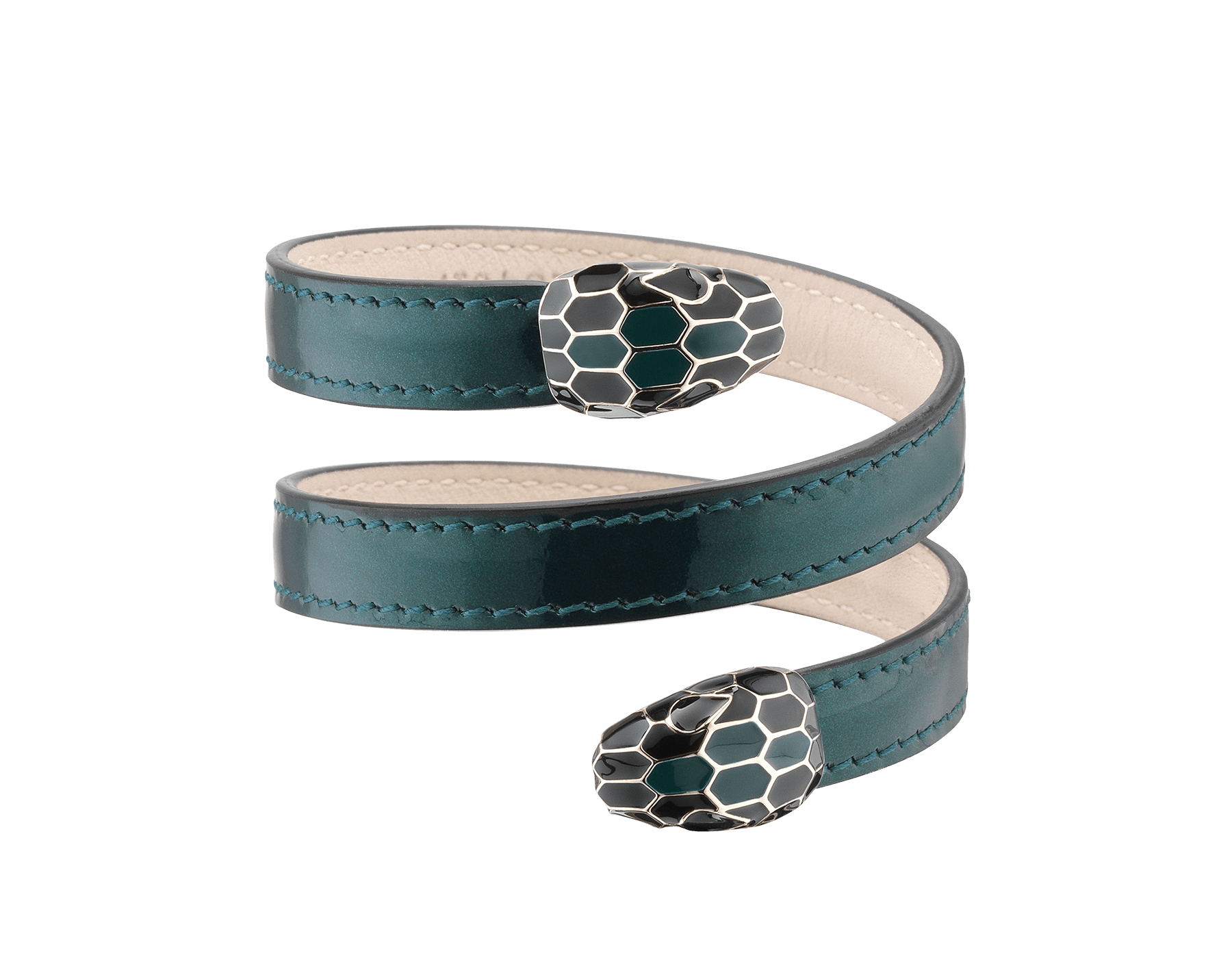 Multi-coiled rigid Cleopatra bracelet in forest emerald brushed metallic calf leather with brass light gold plated hardware. Double tempting Serpenti head finished in black and forest emerald enamel. Cleopatra-BMCL-FE image 1