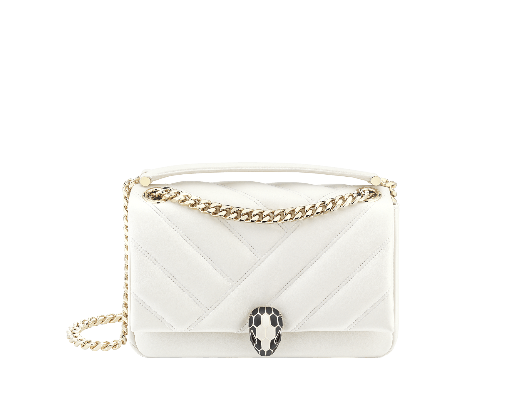 Serpenti Cabochon shoulder bag in soft matelassé white agate nappa leather with graphic motif and white agate calf leather. Snakehead closure in rose gold plated brass decorated with matte black and white enamel, and black onyx eyes. 287993 image 1