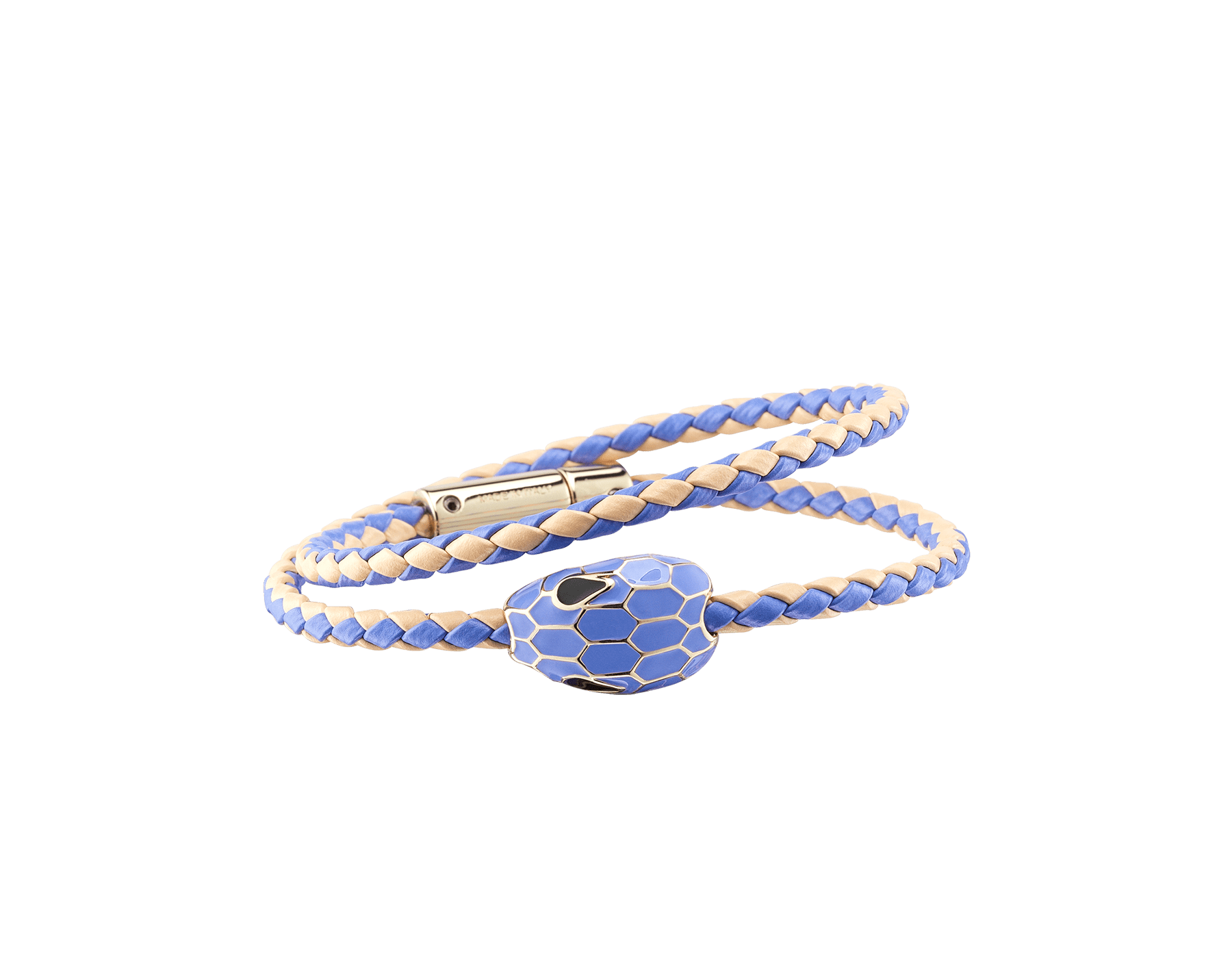 """""""Serpenti Forever"""" multi-coiled braid bracelet in Lavender Amethyst lilac and peach woven calf leather, with the alluring snakehead décor in full Lavender Amethyst lilac enamel with seductive black enamel eyes. SerpDoubleBraid-WCL-LAP image 1"""