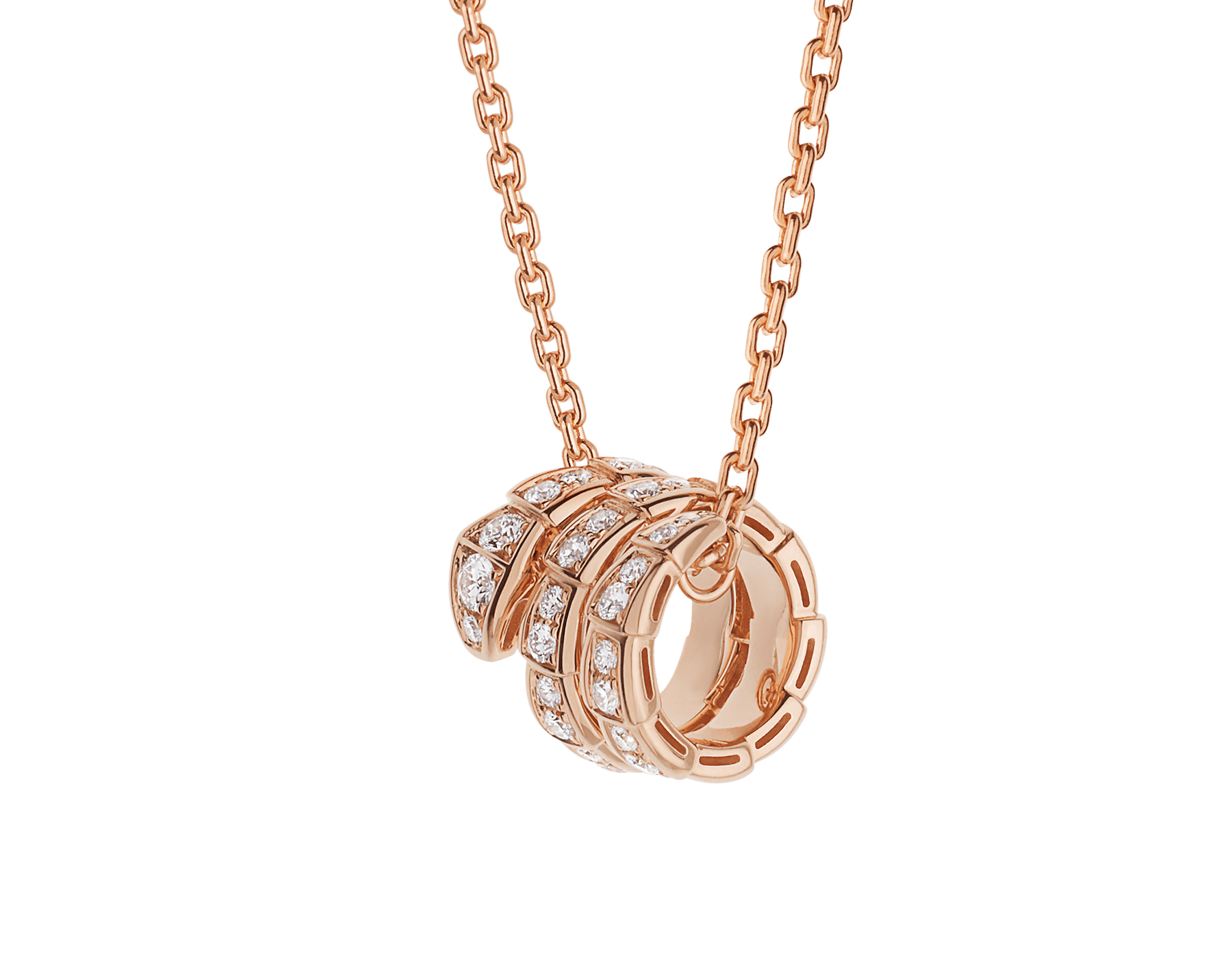 Serpenti Viper pendant necklace in 18 kt rose gold set with pavé diamonds 357795 image 1
