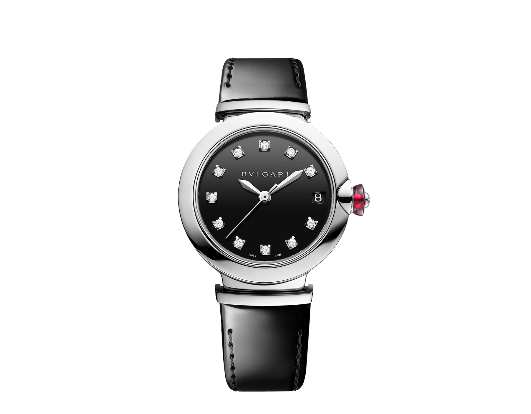 LVCEA watch with stainless steel case, black lacquered dial, diamond indexes and black varnished calf bracelet 103503 image 1