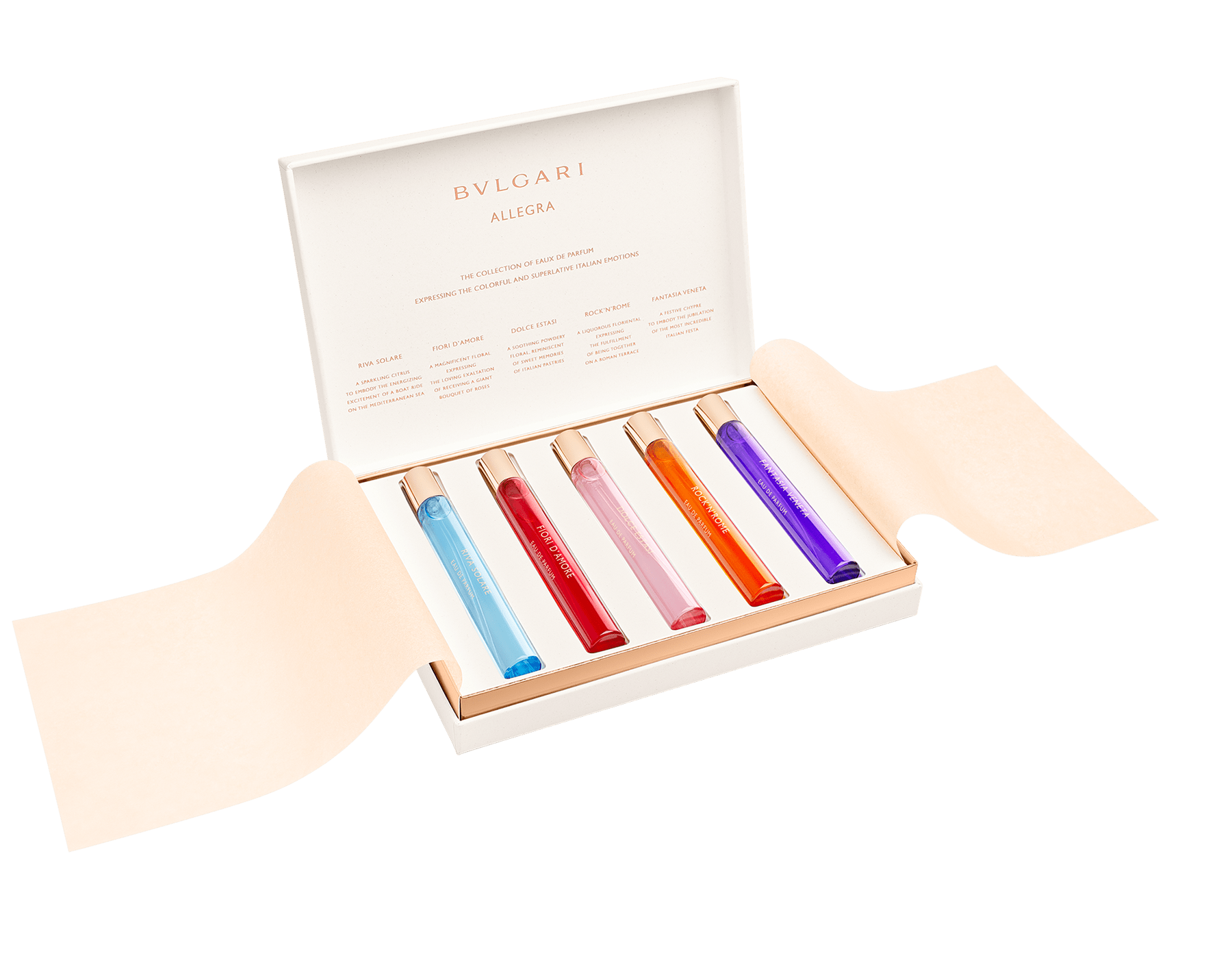 The BVLGARI Allegra Discovery Set is a collection of all five Eau de Parfums expressing the colorful and superlative Italian emotions from the energizing energy of the Italian Riviera to the joyous celebrations of Venice. 41291 image 1