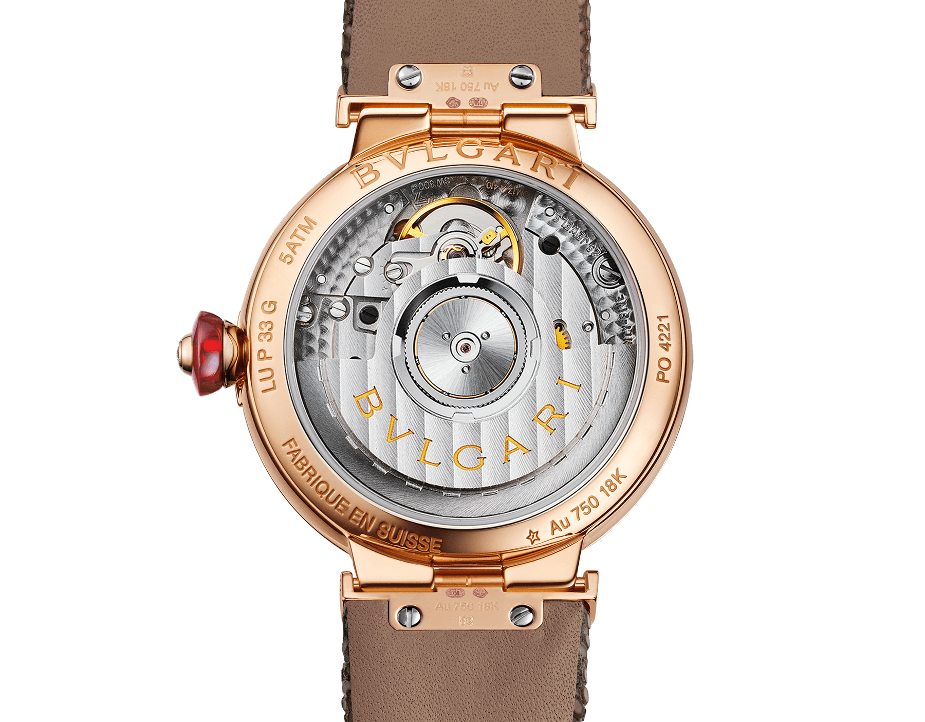 LVCEA watch with 18 kt rose gold case set with diamonds, 18 kt rose gold mosaic dial and bronze galuchat bracelet. 102799 image 4