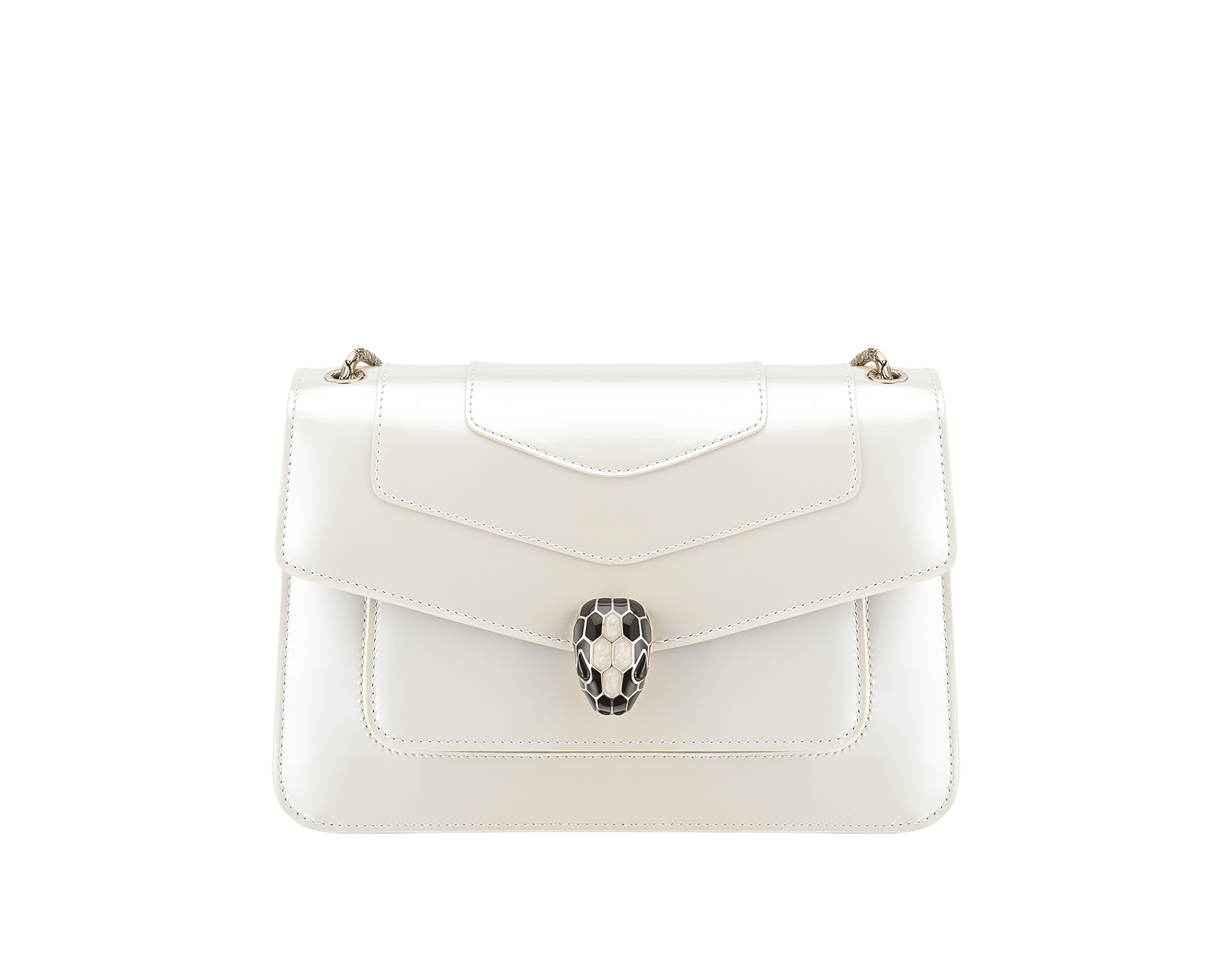 """Serpenti Forever"" crossbody bag in white agate calf leather with a varnished and pearled effect. Iconic snakehead closure in light gold plated brass enriched with black and pearled white agate enamel and black onyx eyes. 290273 image 1"
