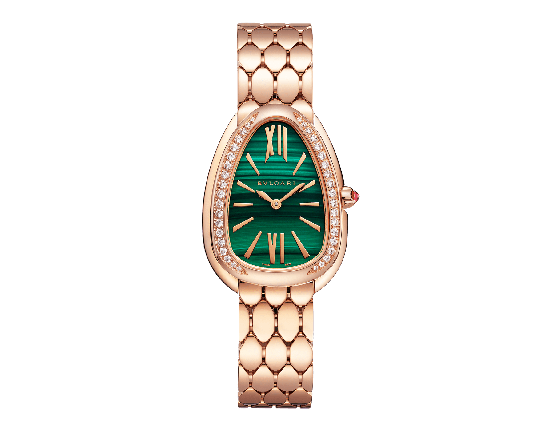 Serpenti Seduttori watch with 18 kt rose gold case and bracelet, 18 kt rose gold bezel set with diamonds and malachite dial 103273 image 1