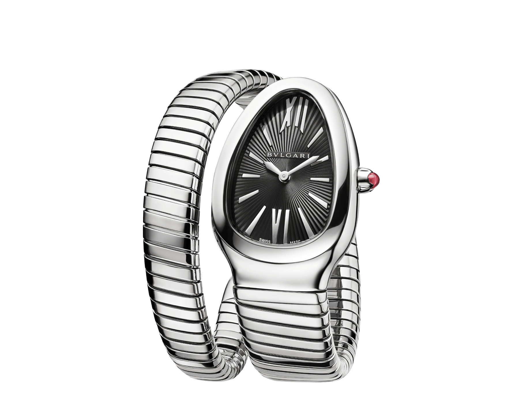 Serpenti Tubogas single spiral watch in stainless steel case and bracelet, with black opaline dial. SrpntTubogas-black-dial2 image 2