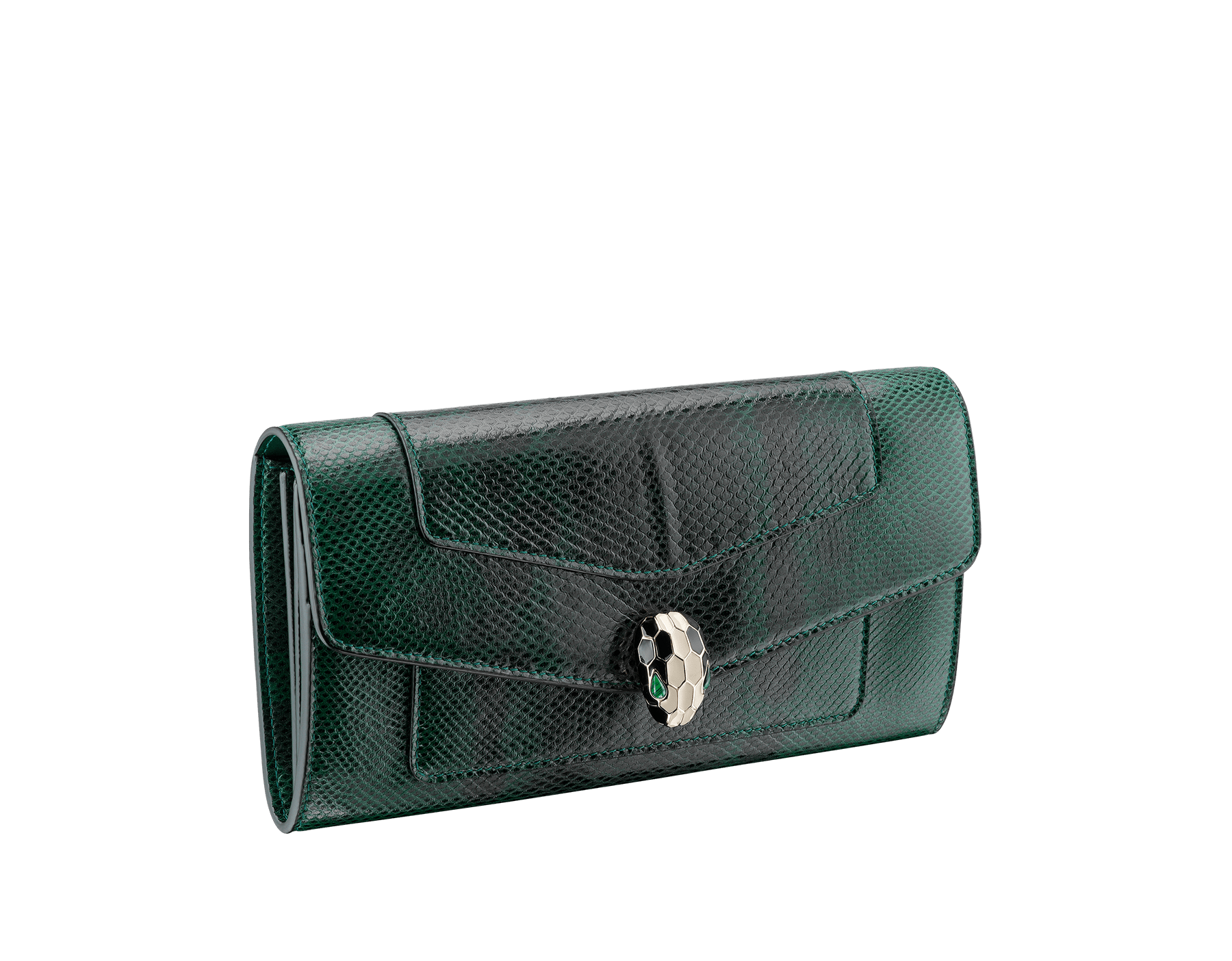 Wallet pochette in forest emerald shiny karung skin and forest emerald calf leather with tourquoise nappa lining. Brass light gold plated hardware. Serpenti head stud closure in black and white enamel with eyes in green malachite. 283820 image 1