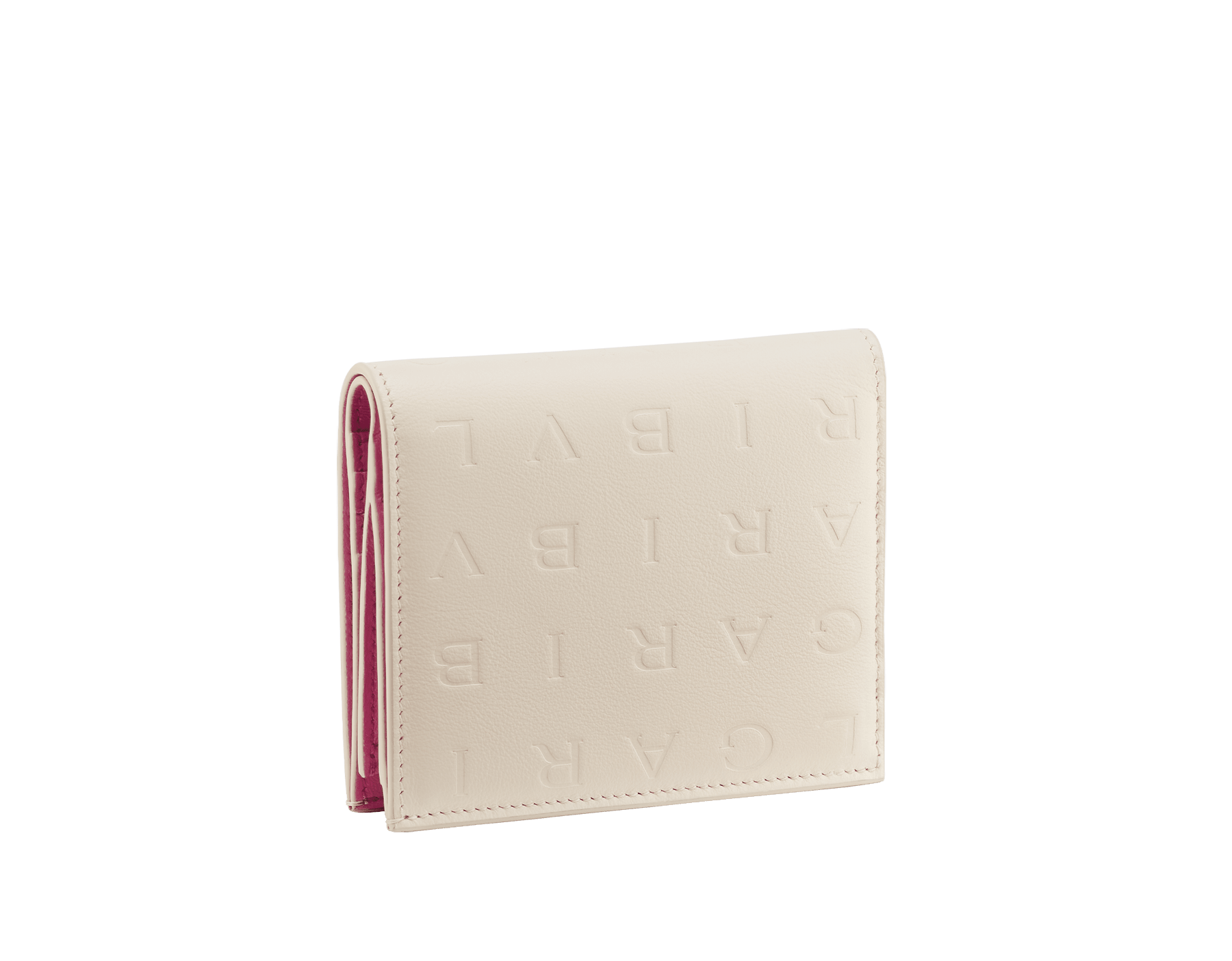 Bvlgari Logo compact wallet in Ivory Opal white calf leather with hot stamped Infinitum Bvlgari logo pattern and plain Pink Spinel nappa leather lining. Light gold-plated brass hardware BVL-COMPACTWLT image 3