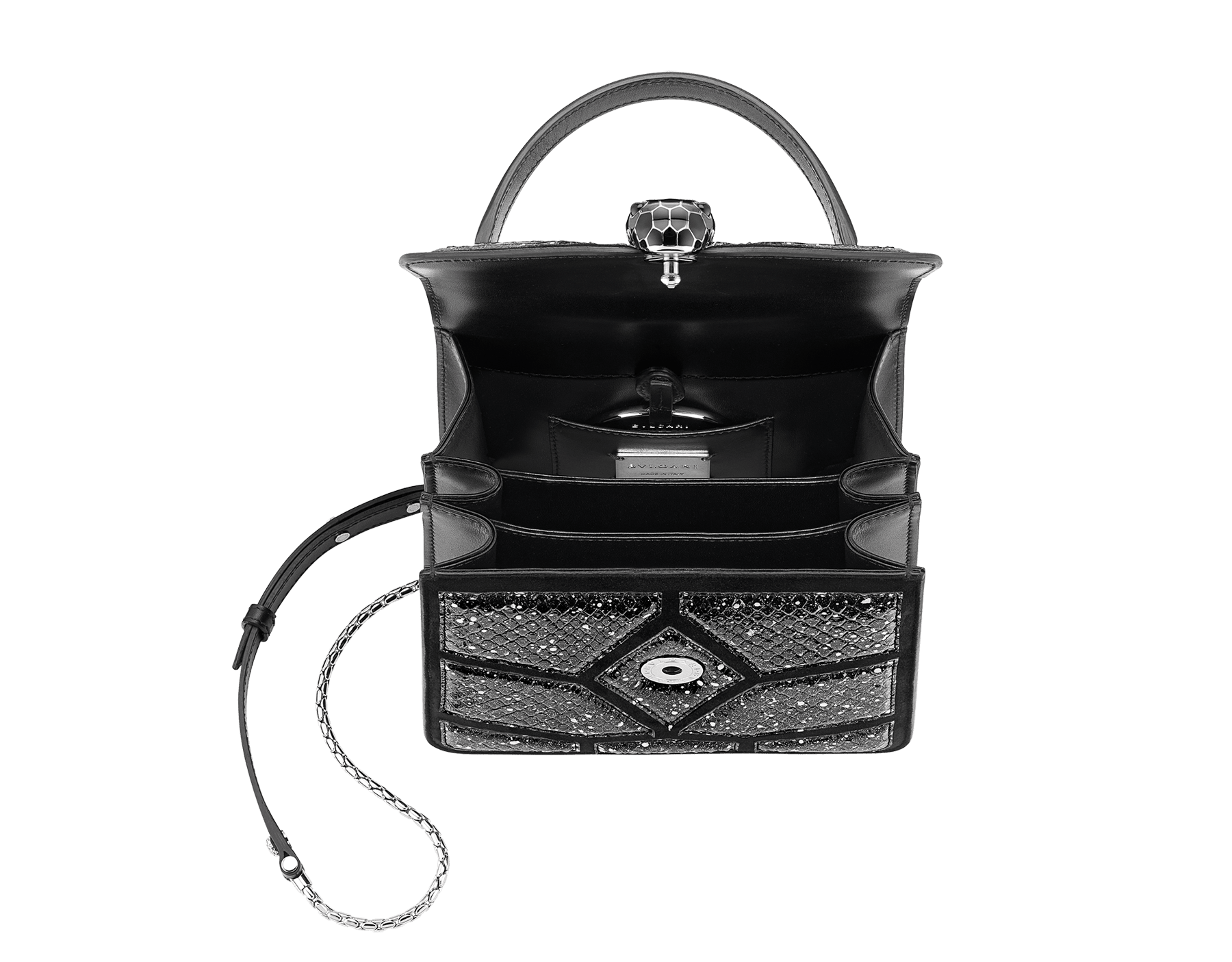 Serpenti Forever crossbody bag in black and white Stardust Cosmic python skin and black calf leather. Snakehead closure in palladium plated brass decorated with black enamel, and black onyx eyes. 288223 image 4