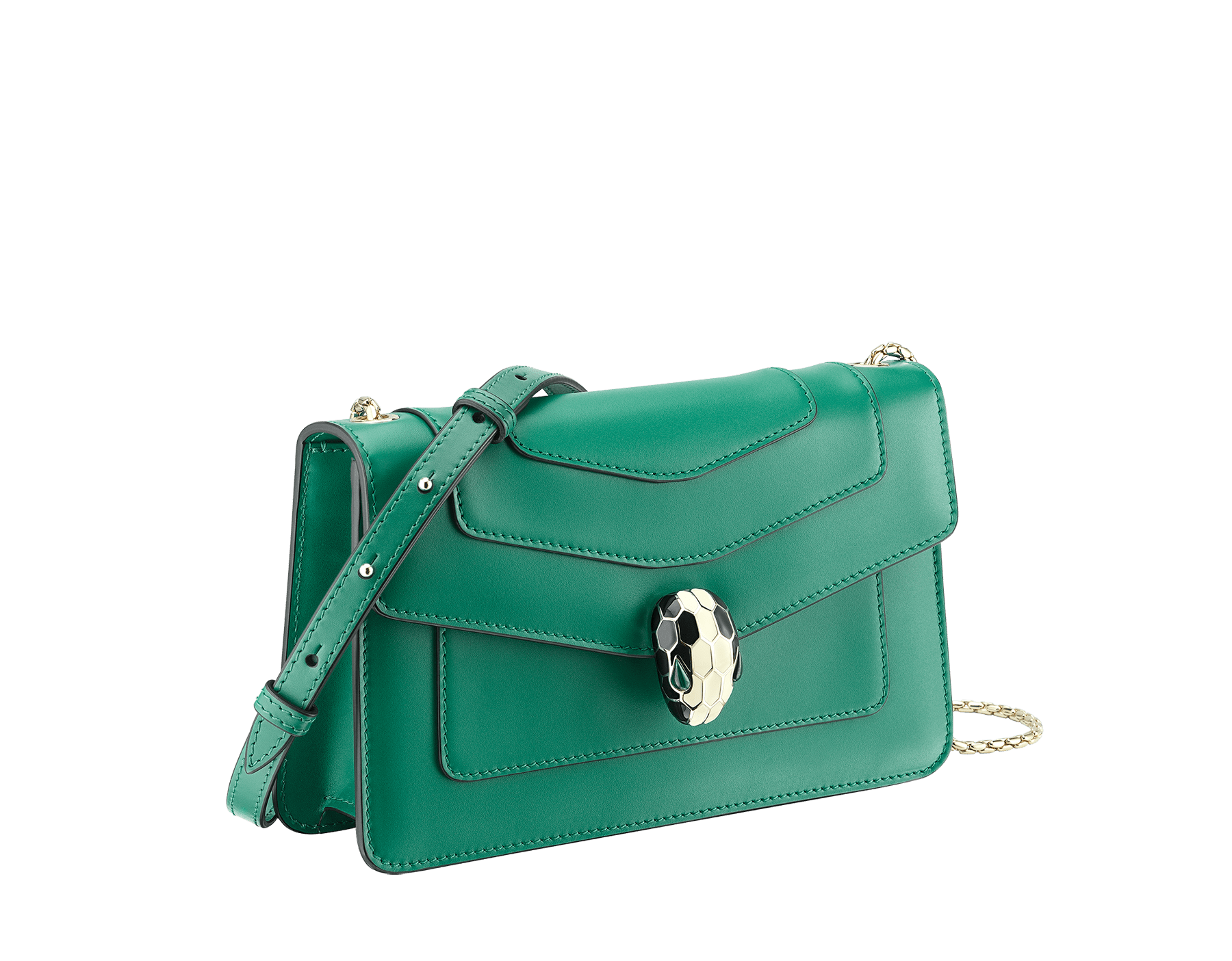 Shoulder bag in Serpenti Forever emerald green calf leather with brass light gold plated Serpenti head closure in black and white enamel with eyes in malachite. 38065 image 2