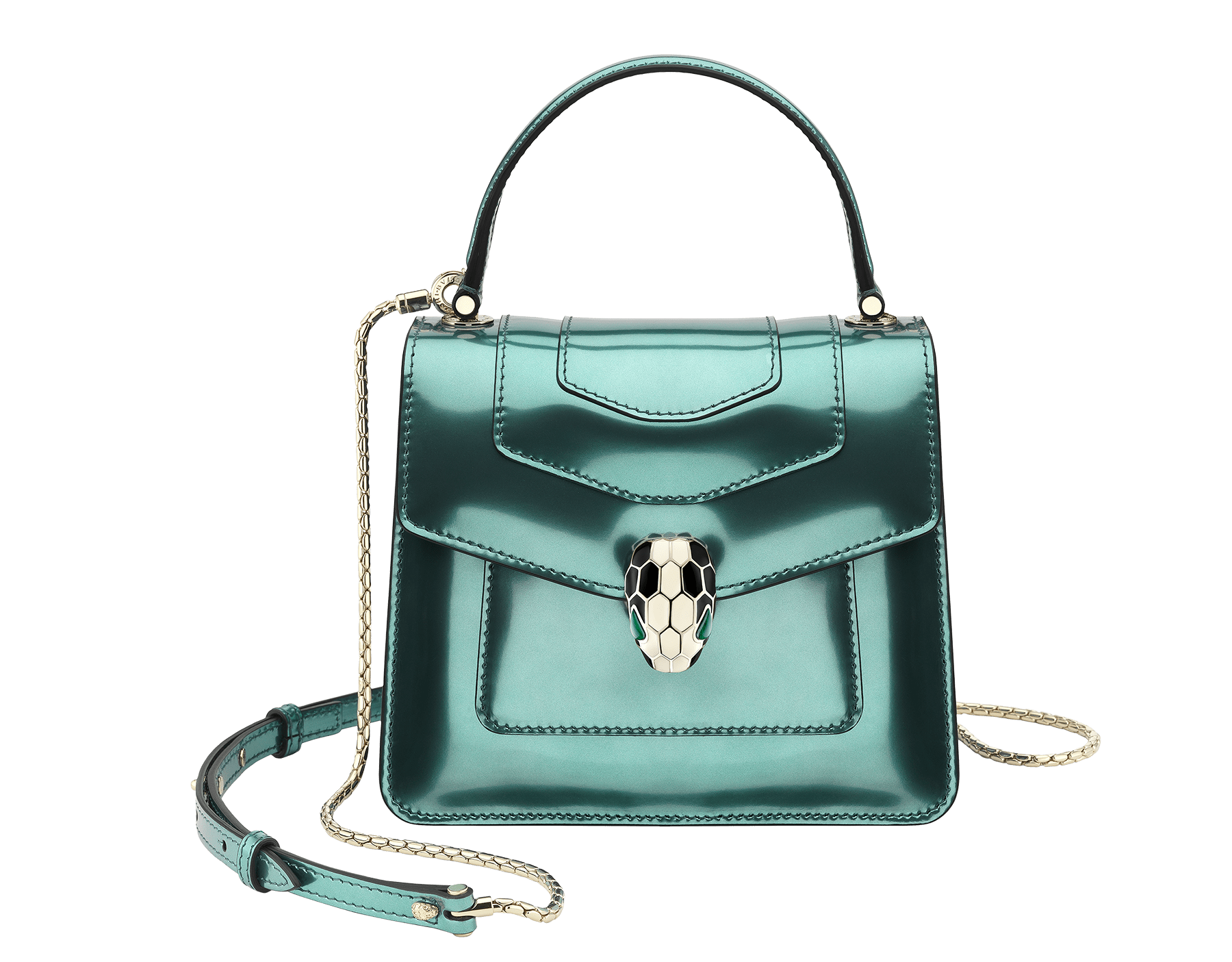 """""""Serpenti Forever """" crossbody bag in glacier turquoise brushed metallic calf leather. Iconic snakehead closure in light gold plated brass enriched with black and white enamel and green malachite eyes. 287045 image 1"""