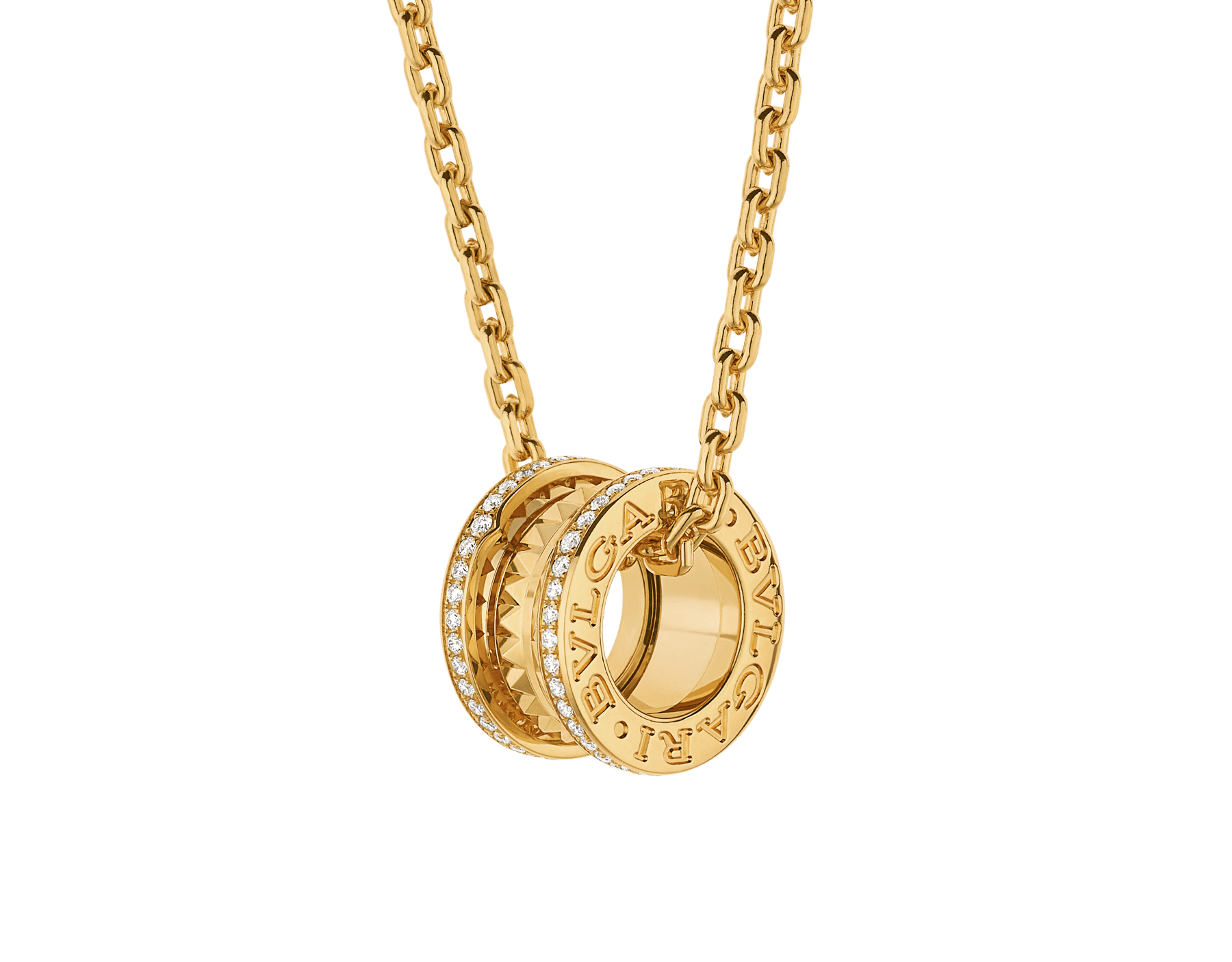 B.zero1 Rock pendant necklace in 18 kt yellow gold with studs set with pavé diamonds 358349 image 1
