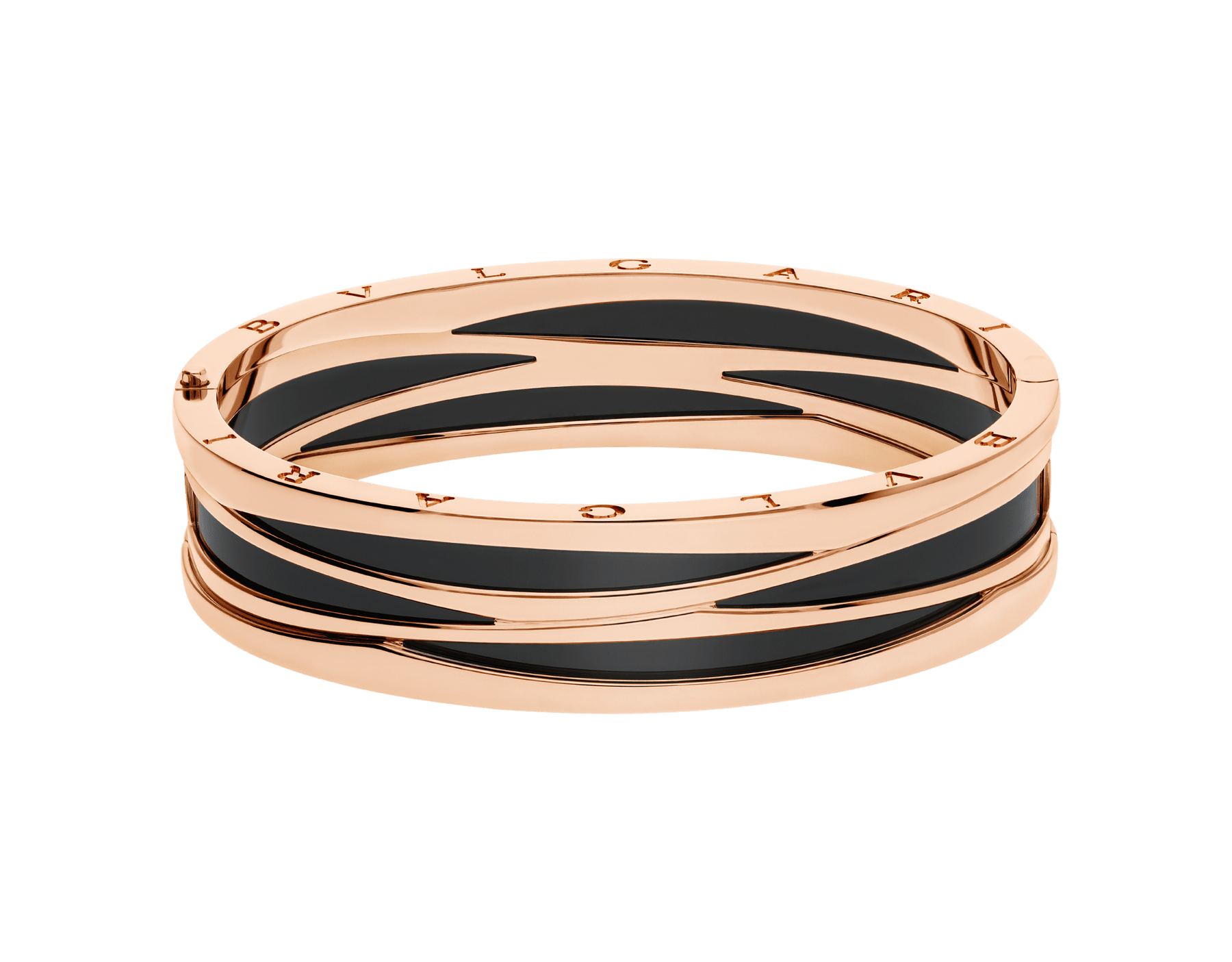 B.zero1 18 kt rose gold bracelet with black ceramic. BR858729 image 2