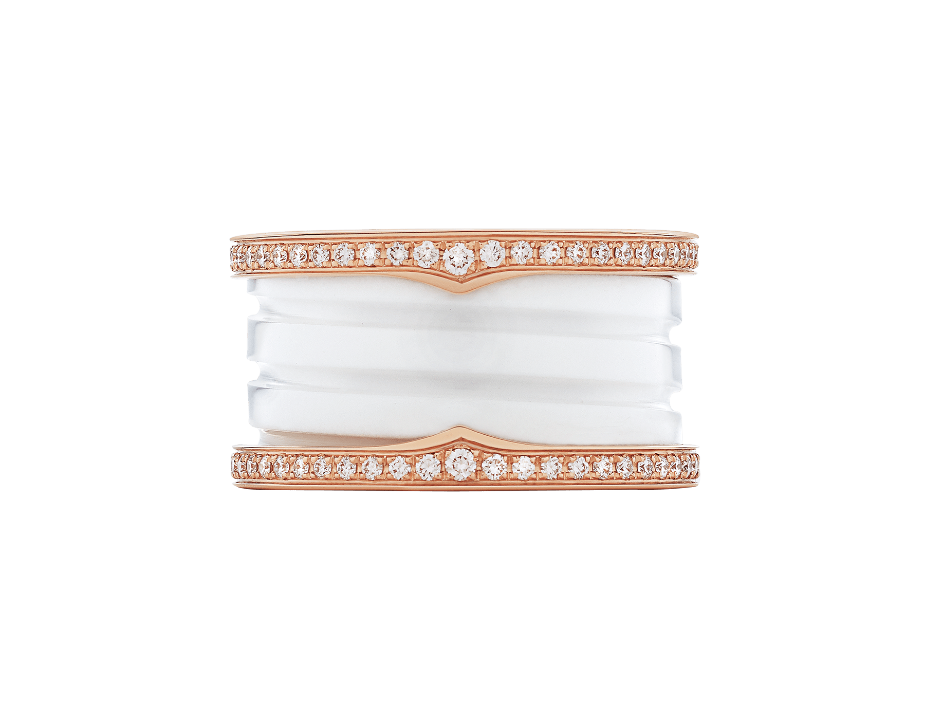 B.zero1 four-band ring with two 18 kt rose gold loops set with pavé diamonds on the edges and a white ceramic spiral. B-zero1-4-bands-AN857030 image 3