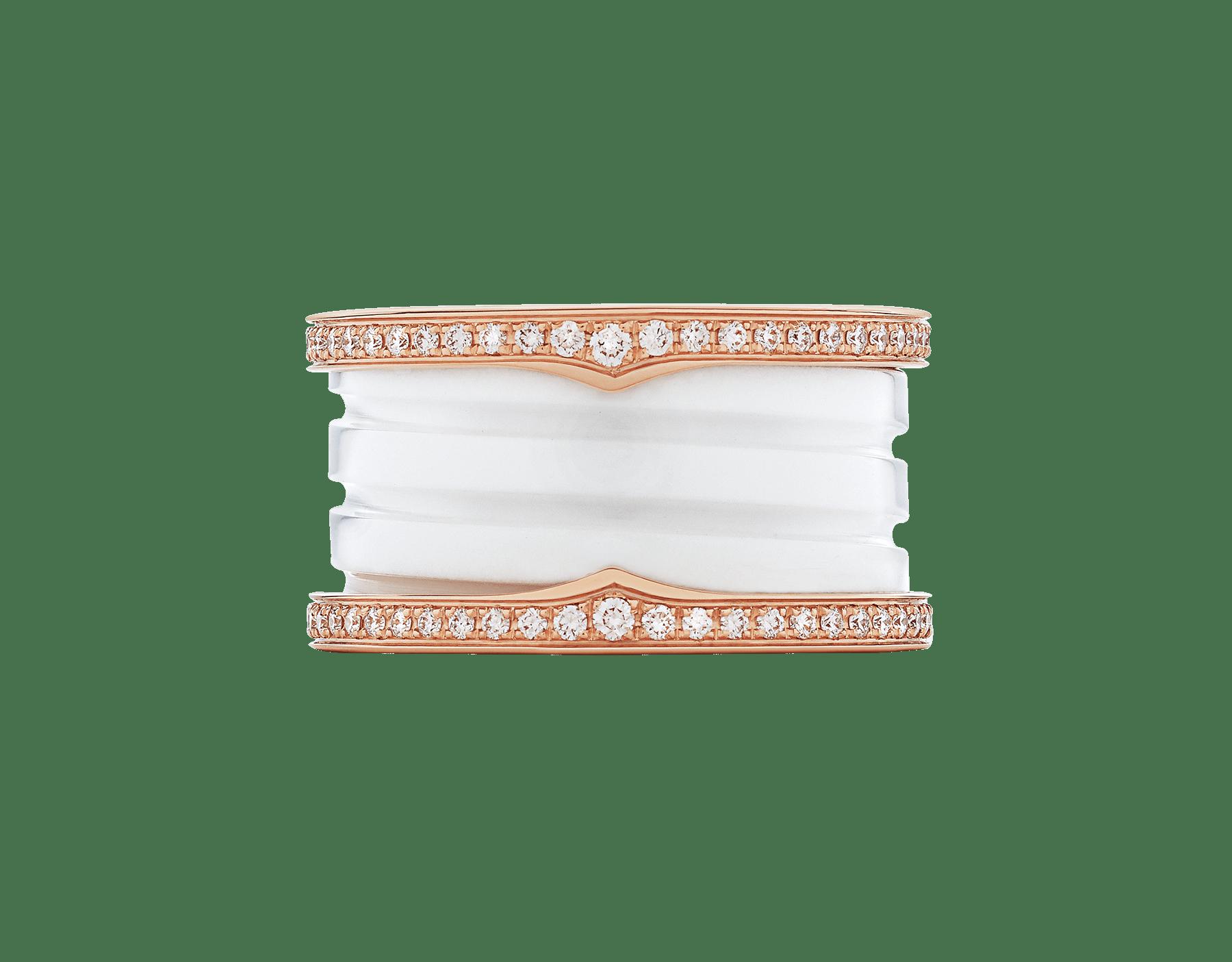 Anillo B.zero1 de cuatro bandas con dos aros en oro rosa de 18 qt con pavé de diamantes en los bordes y una espiral de cerámica blanca. B-zero1-4-bands-AN857030 image 3